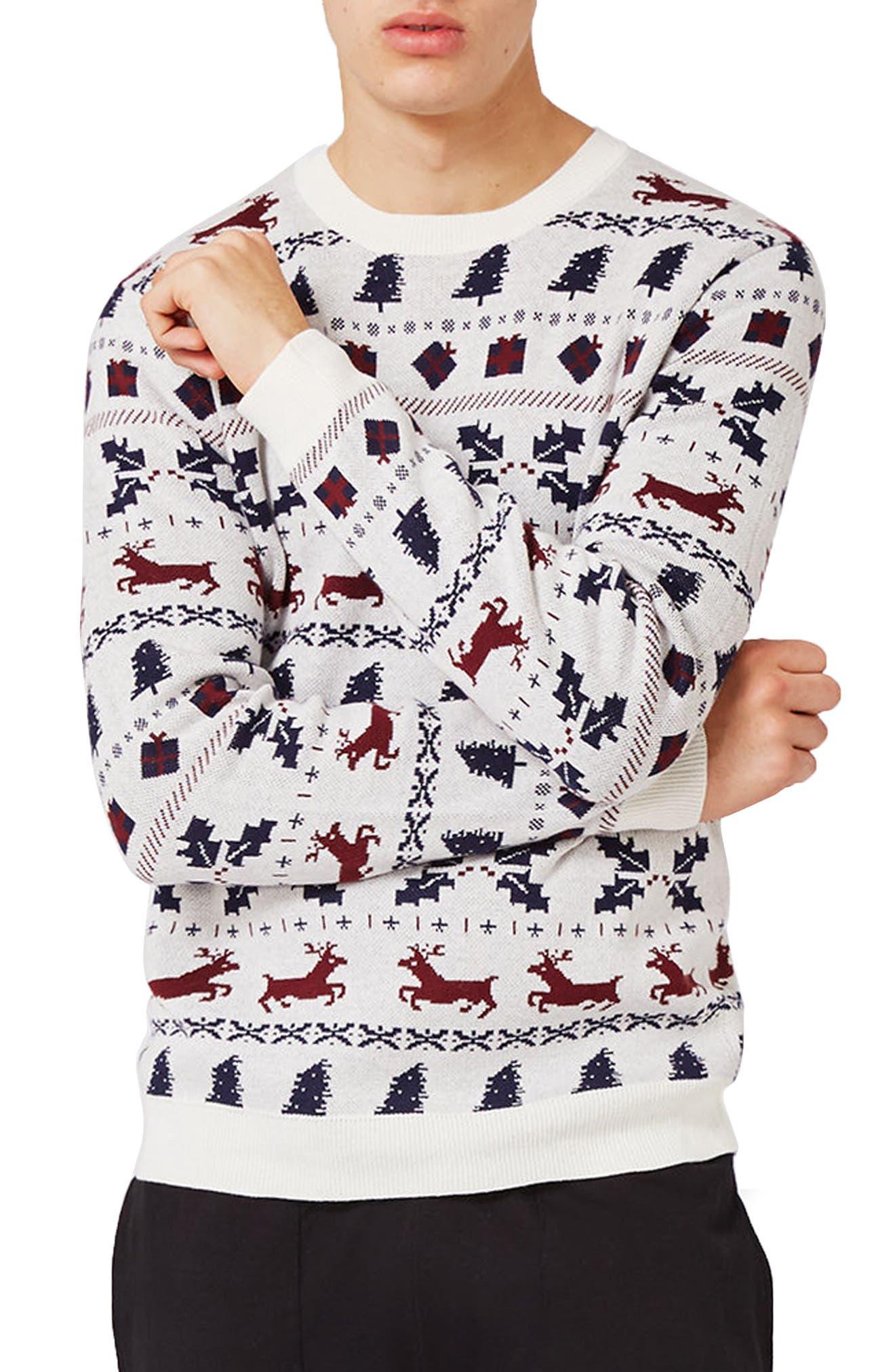 TOPMAN Christmas Fair Isle Sweater, Main, color, 901