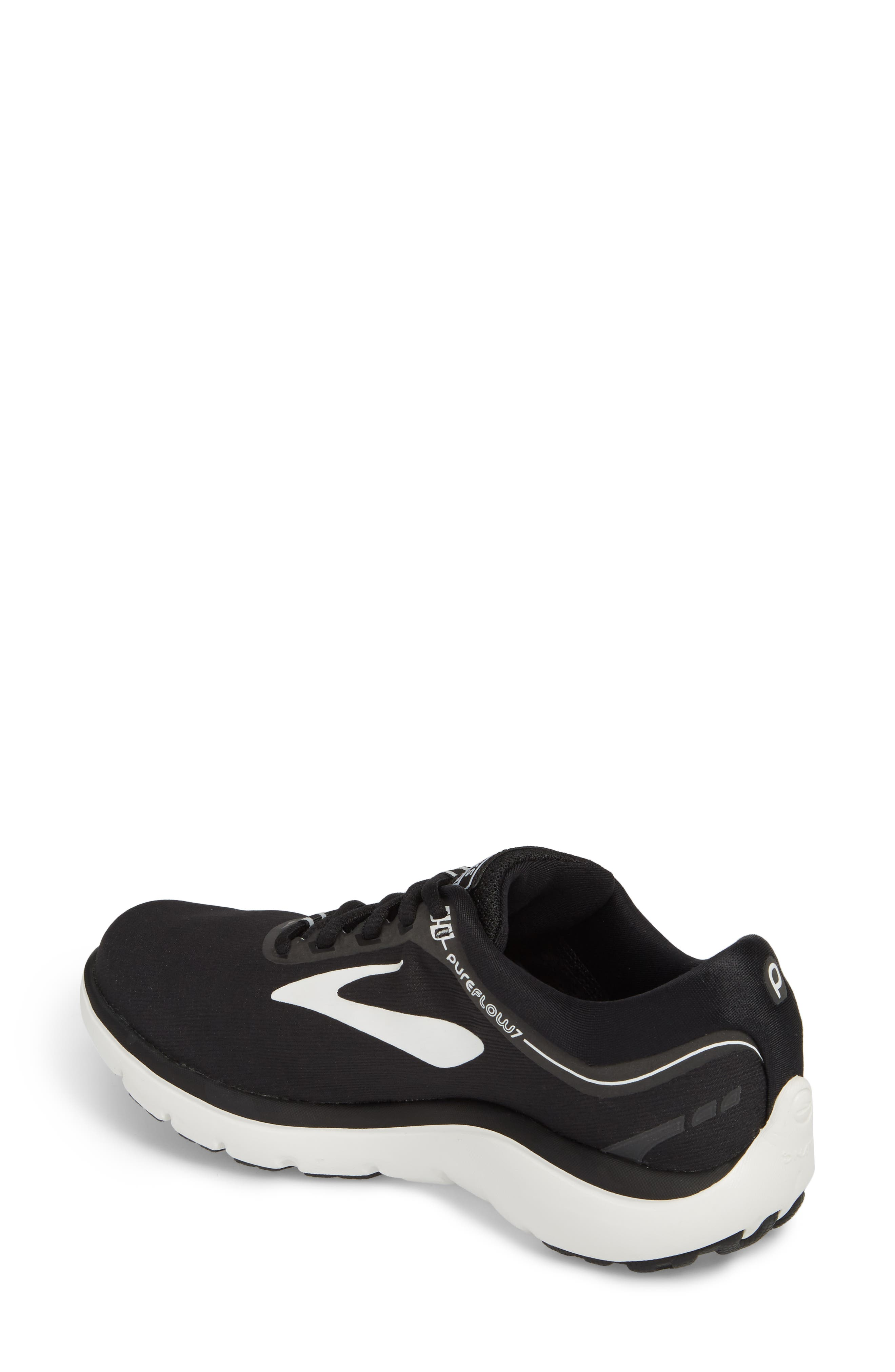 PureFlow 7 Running Shoe,                             Alternate thumbnail 2, color,                             BLACK/ WHITE