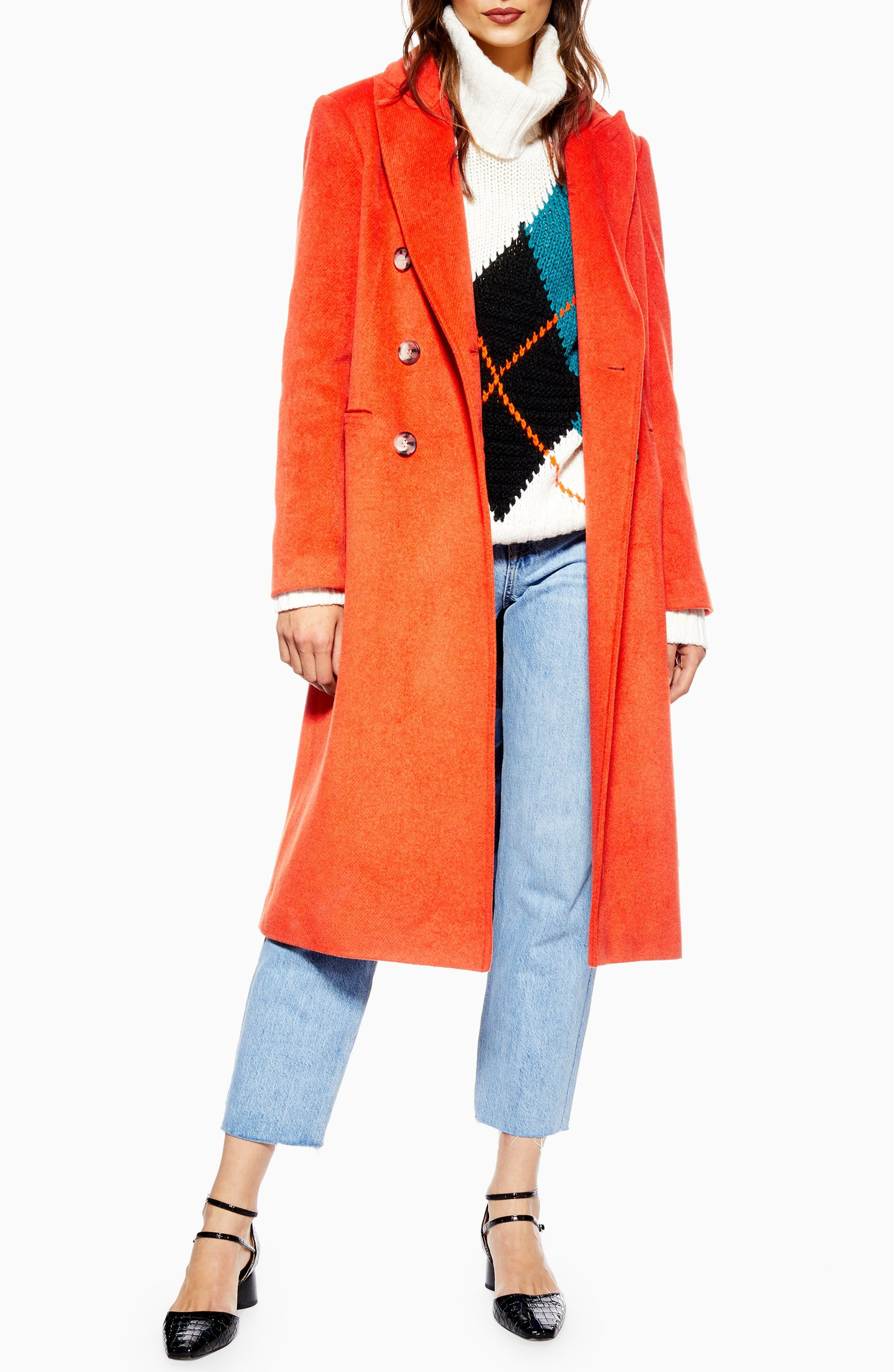 Brushed Long Coat, Main, color, RUST
