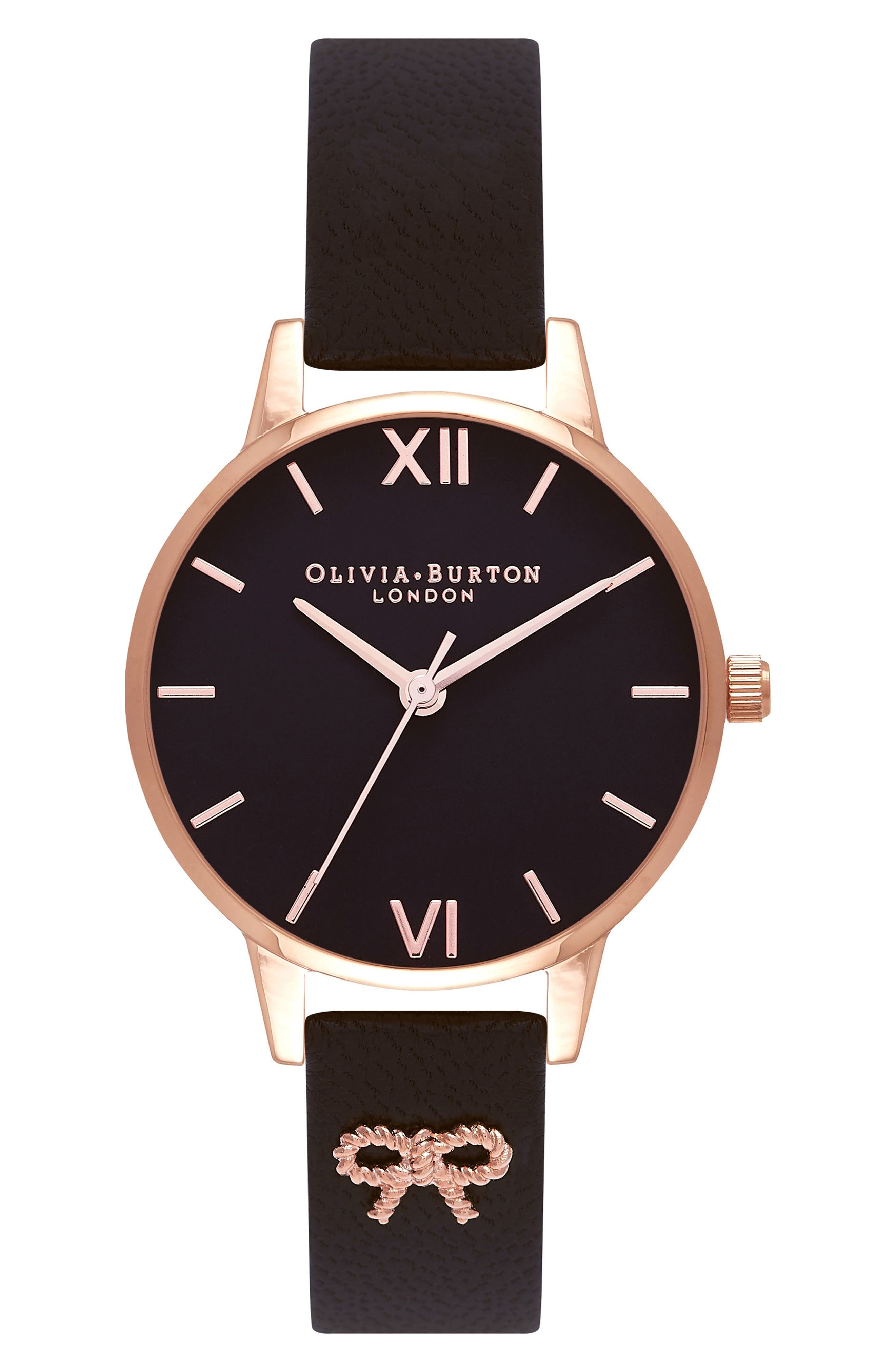 Vintage Bow Leather Strap Watch, 30mm,                         Main,                         color, BLACK/ ROSE GOLD