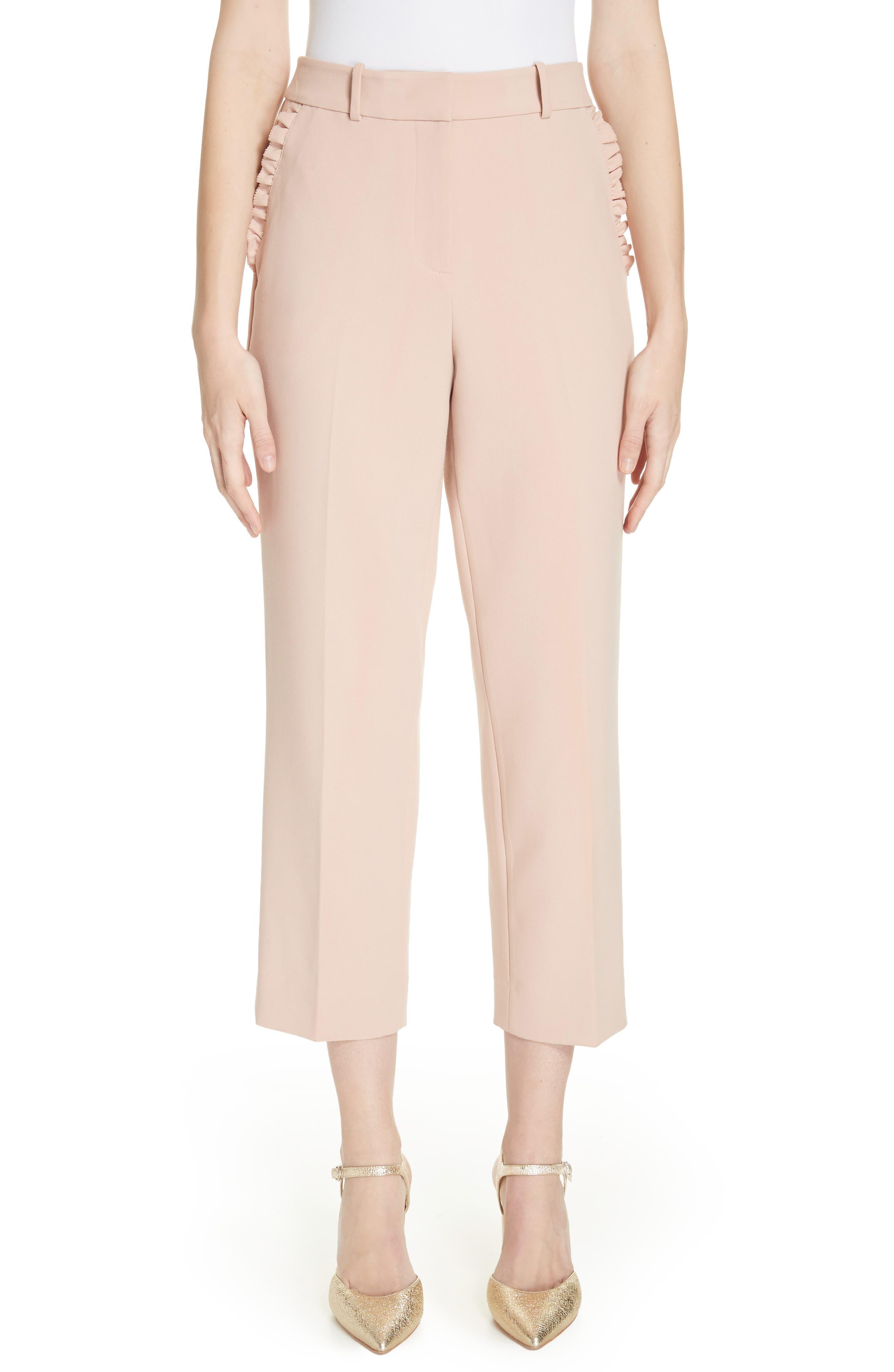 Glitzy Ritzy Ruffle Pocket Pants in Pink Opal