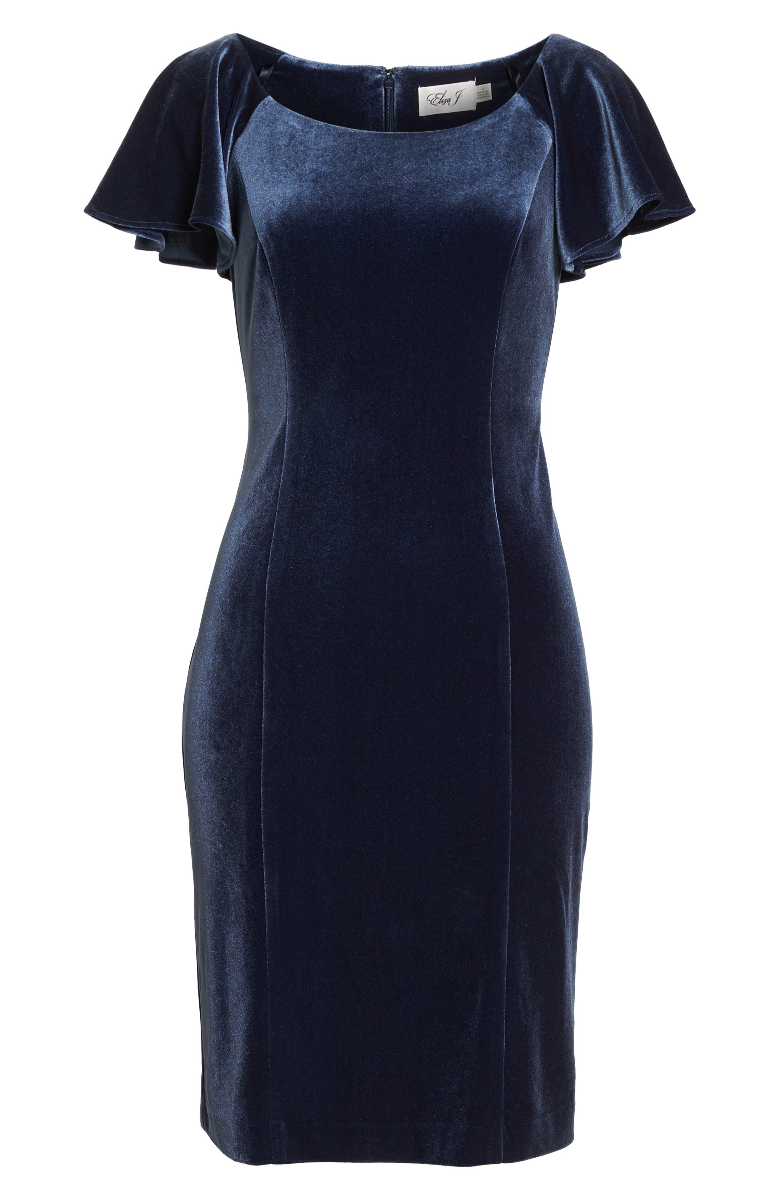 Scoop Neck Flutter Sleeve Velvet Sheath Dress,                             Alternate thumbnail 7, color,                             BLUE STEEL