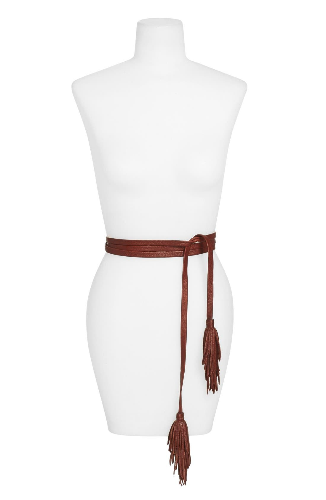 Double Wrap Leather Tassel Belt,                             Main thumbnail 2, color,