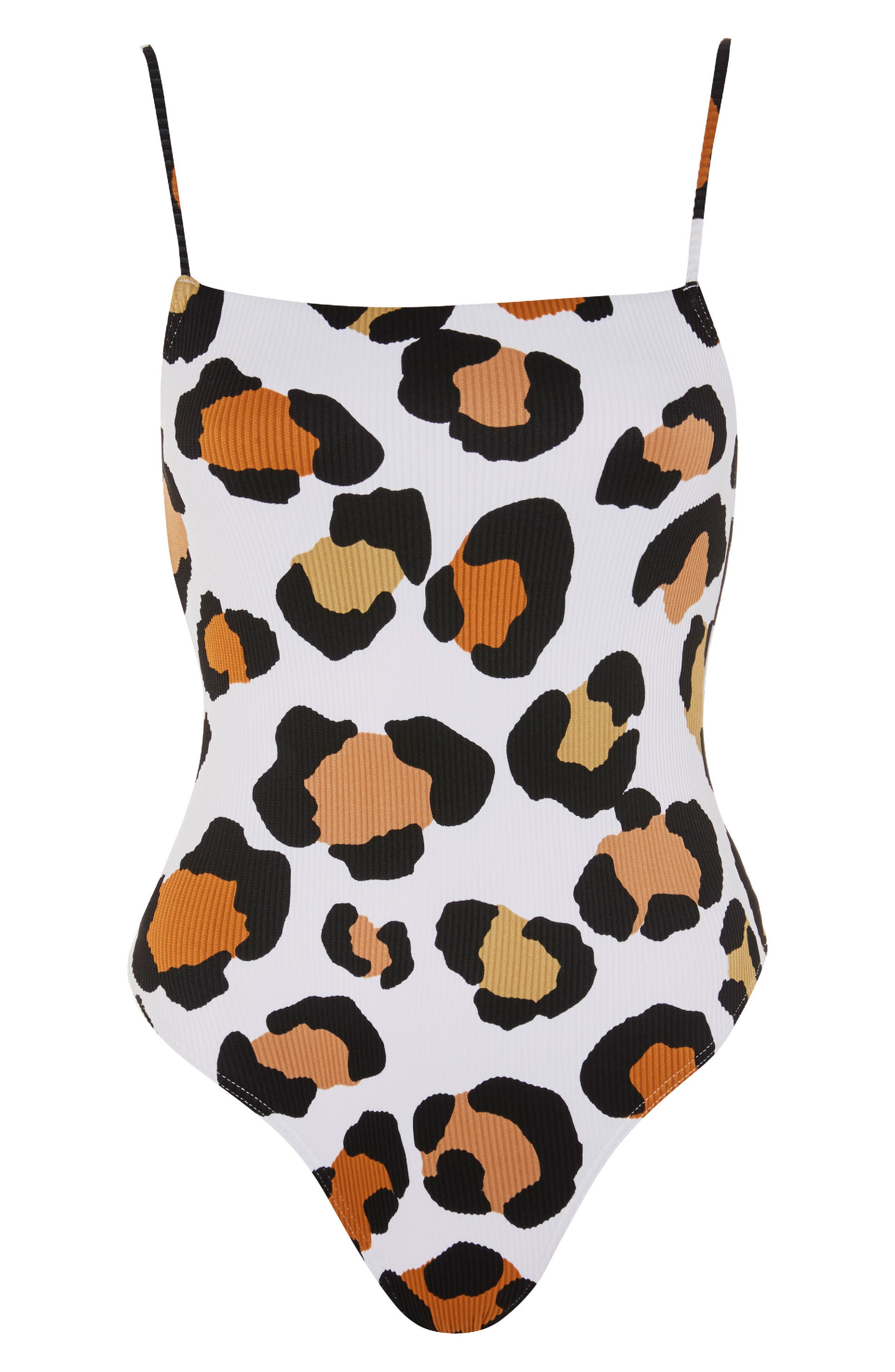 Leopard Rib One-Piece Swimsuit,                             Alternate thumbnail 4, color,                             100