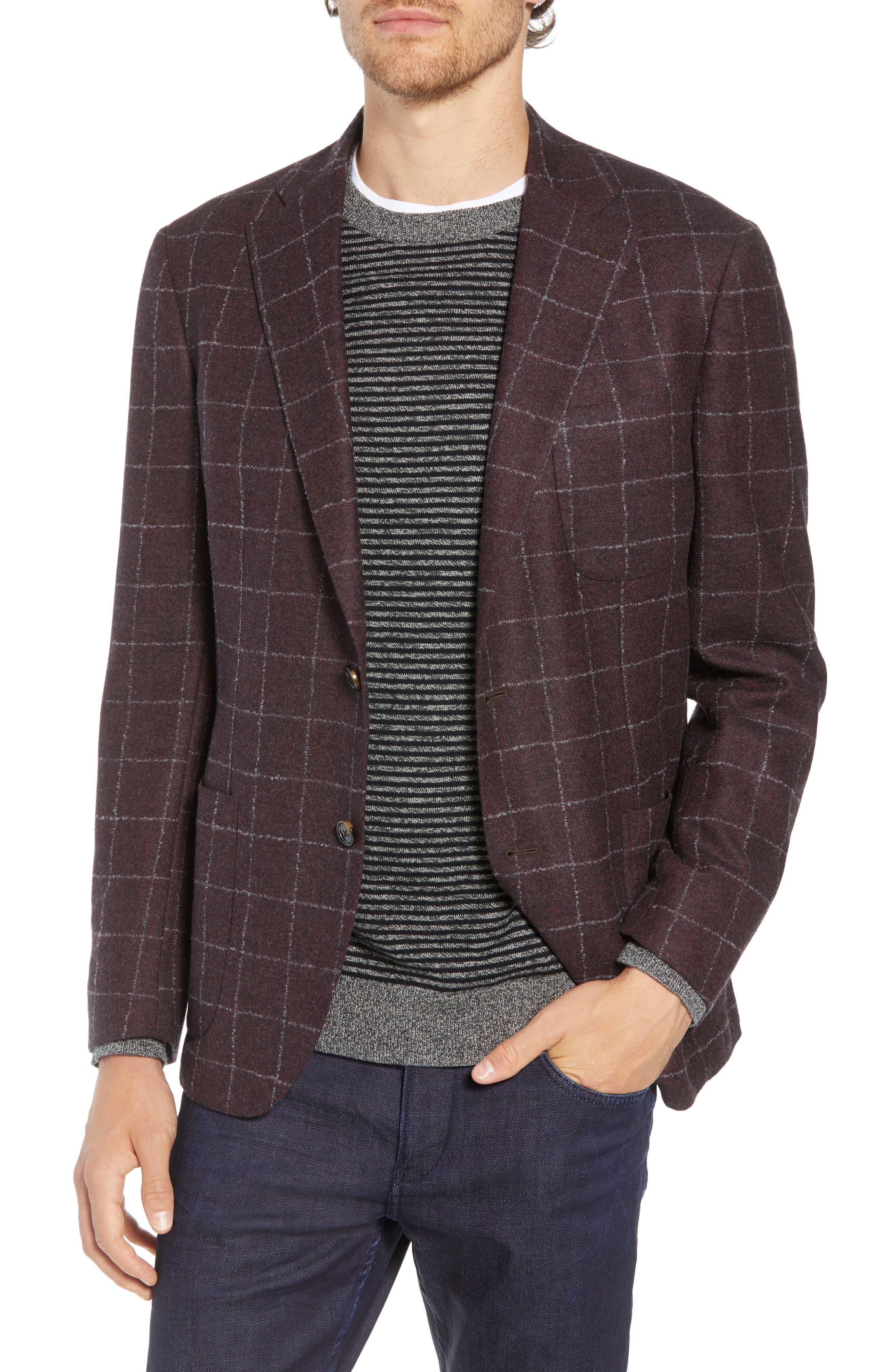 Trim Fit Windowpane Wool & Cashmere Sport Coat,                             Main thumbnail 1, color,                             DARK RED