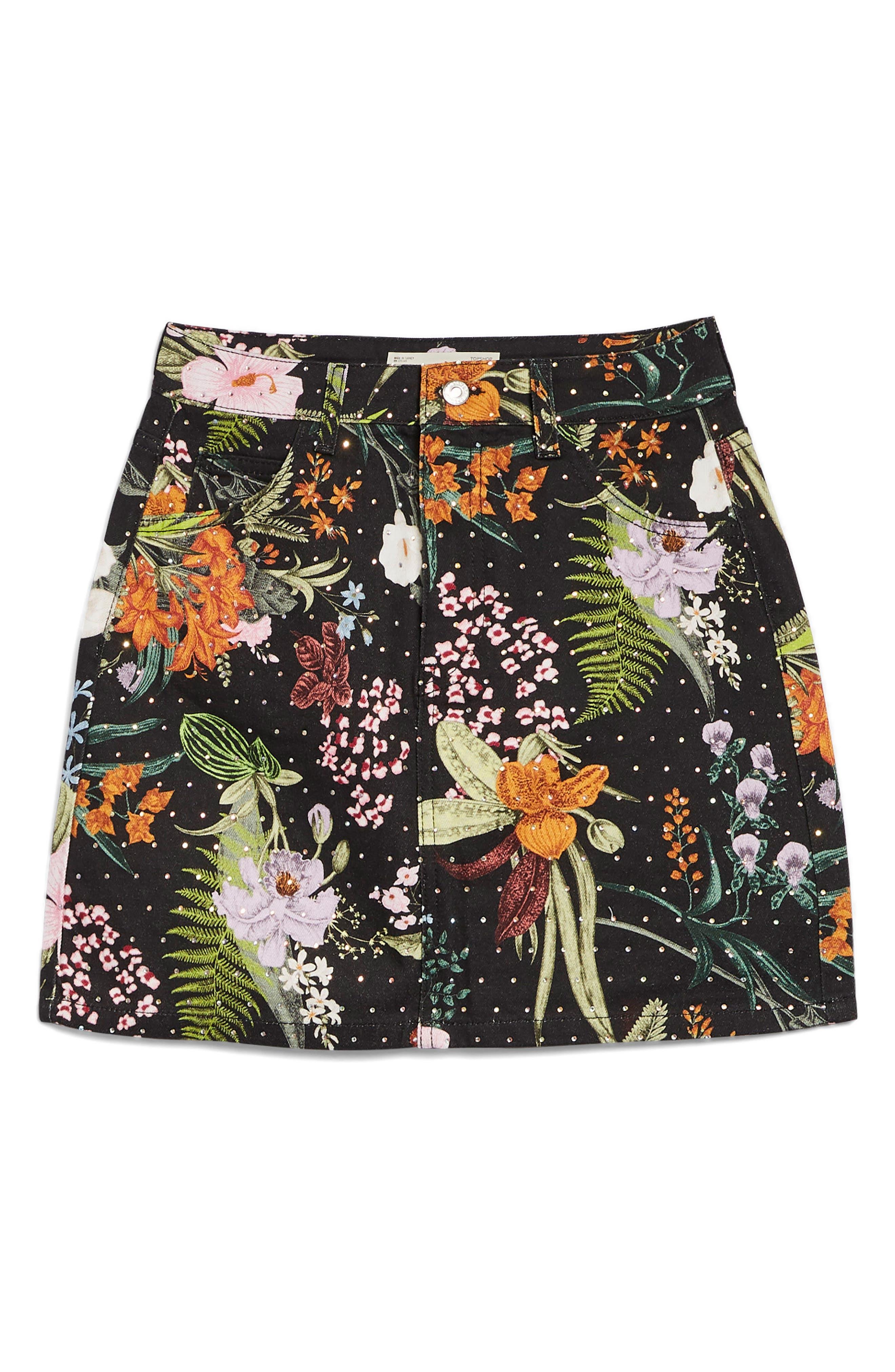 Floral Crystal Denim Skirt,                             Alternate thumbnail 4, color,                             001