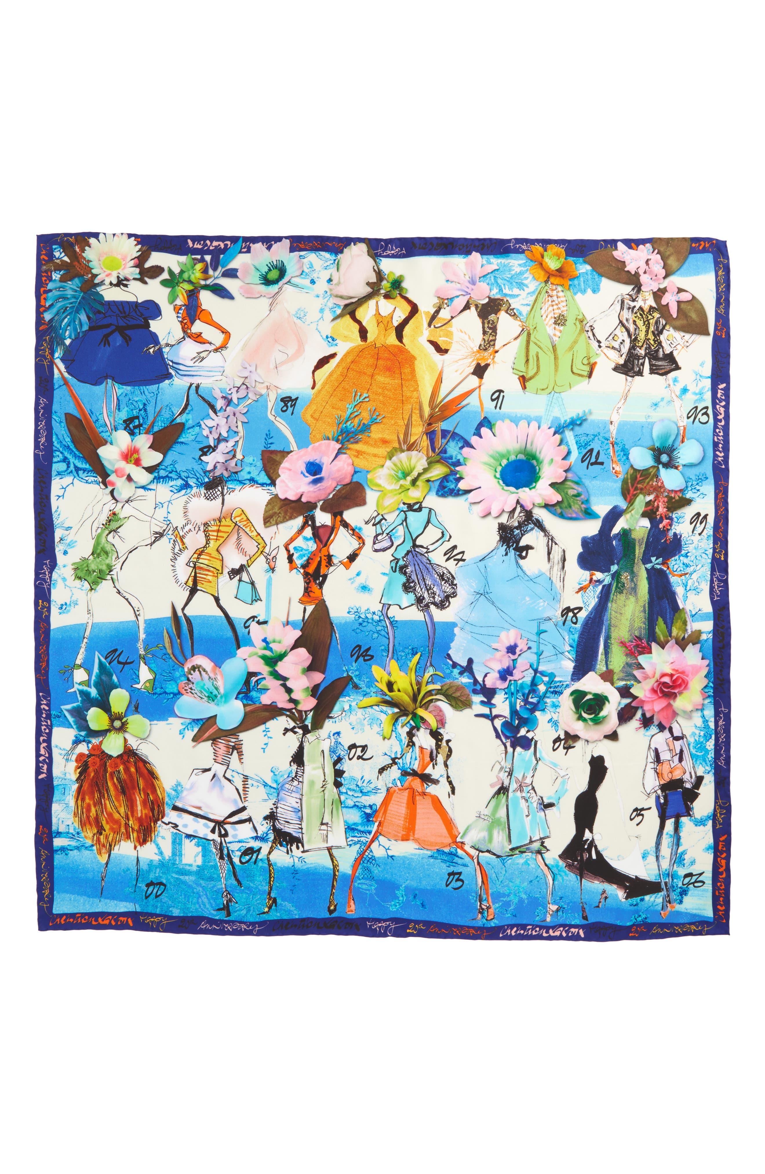 Les Filles en Fleur Square Silk Scarf,                             Main thumbnail 1, color,