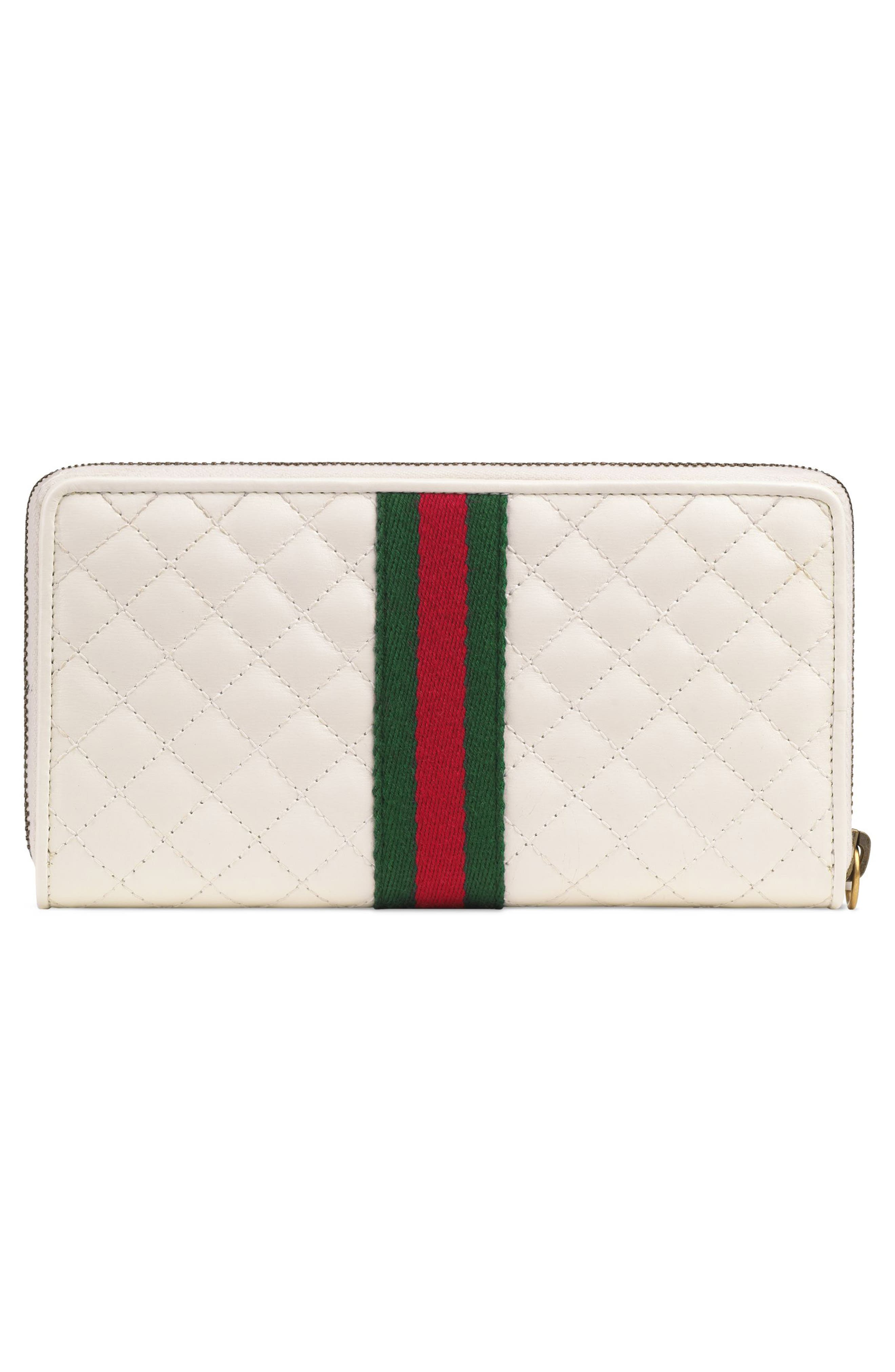 Quilted Leather Zip Around Continental Wallet,                             Alternate thumbnail 3, color,                             OFF WHITE/ VERT/ RED