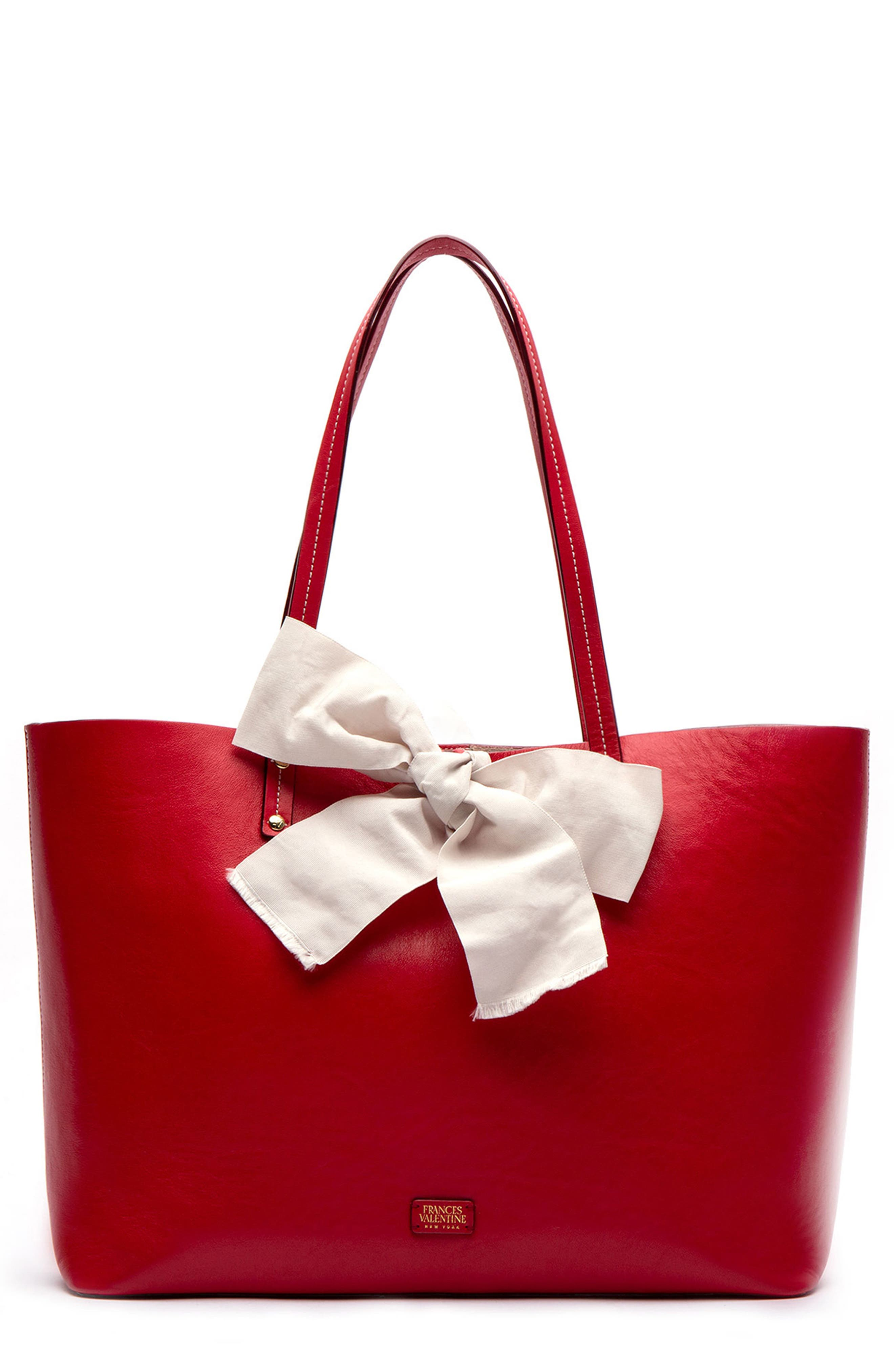 FRANCES VALENTINE Trixie Leather Tote in Red/ Oyster