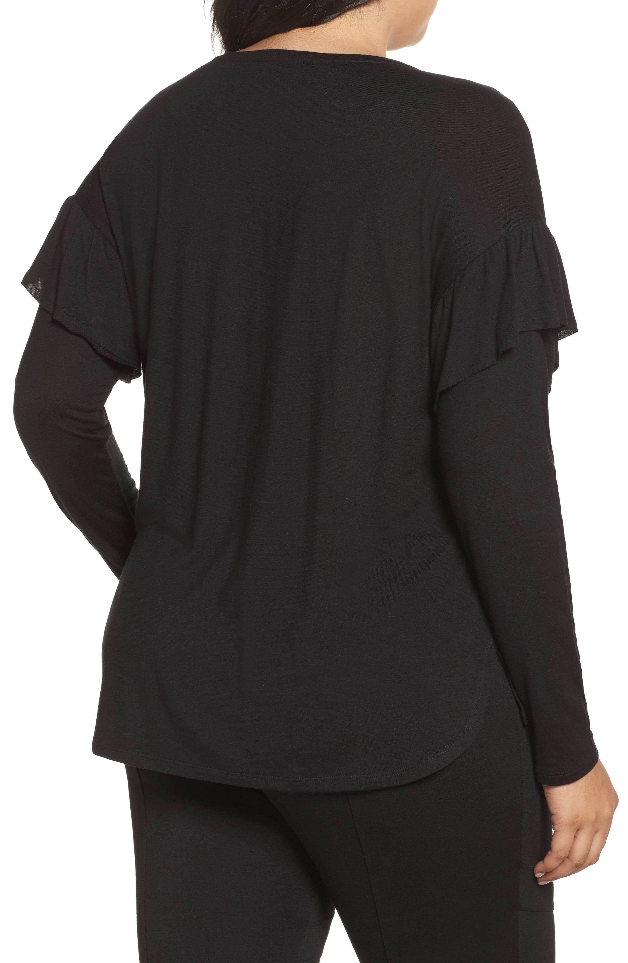 Long Sleeve Ruffle Shoulder Top,                             Alternate thumbnail 2, color,                             010