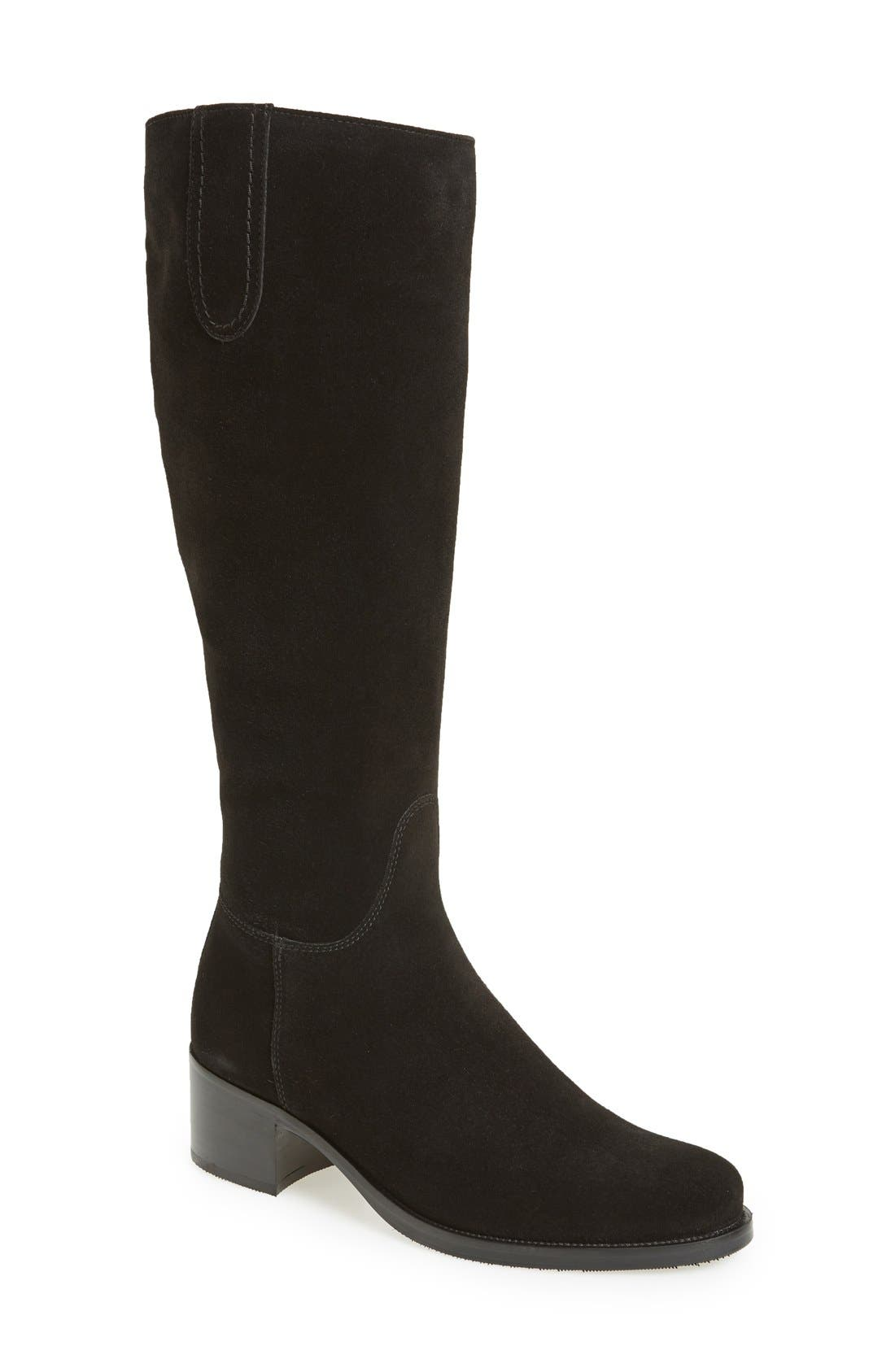 'Polly' Waterproof Knee High Boot,                             Main thumbnail 1, color,                             BLACK SUEDE