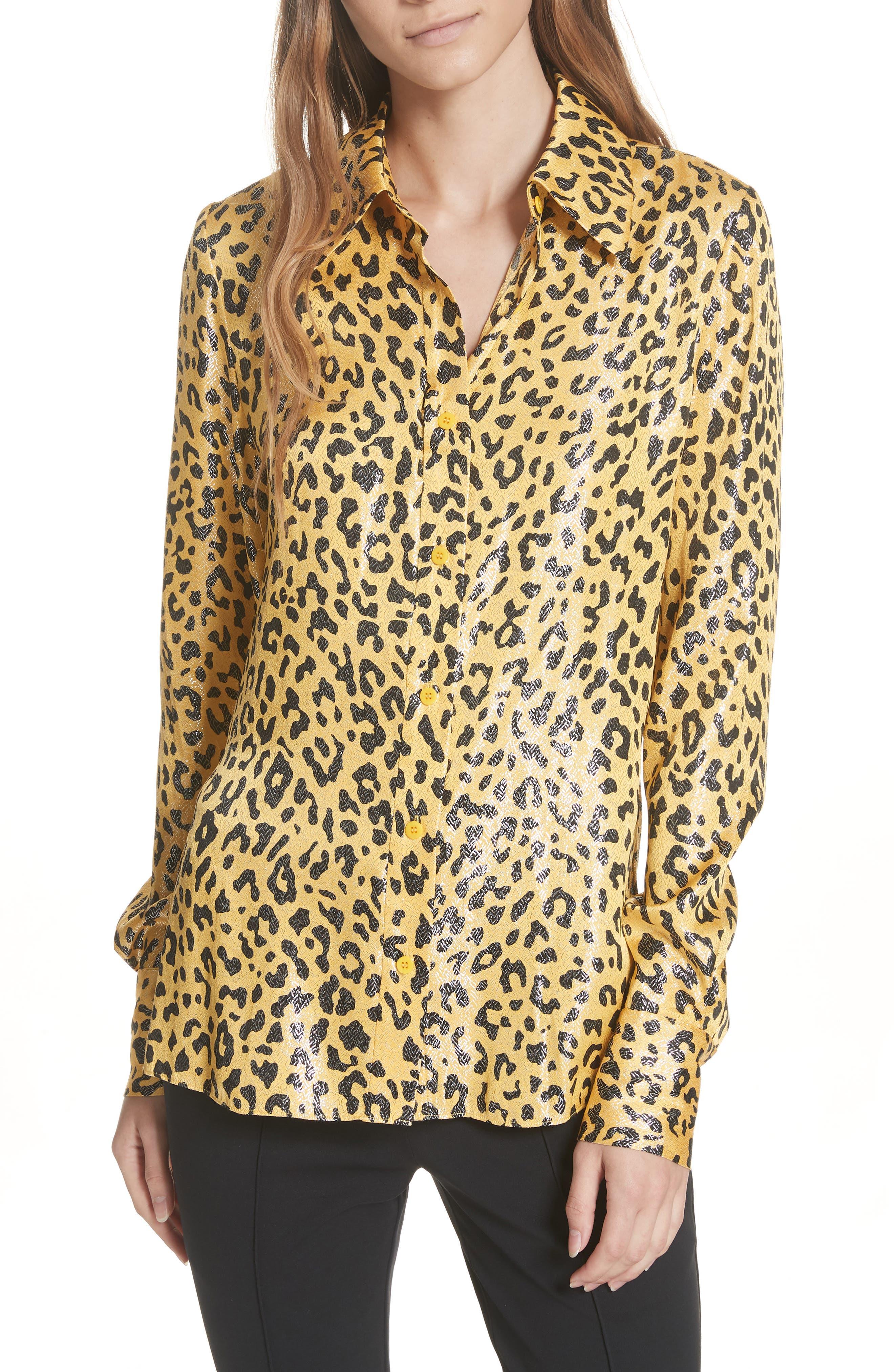Leopard Print Silk & Metallic Shirt,                             Main thumbnail 1, color,                             HEYFORD GO