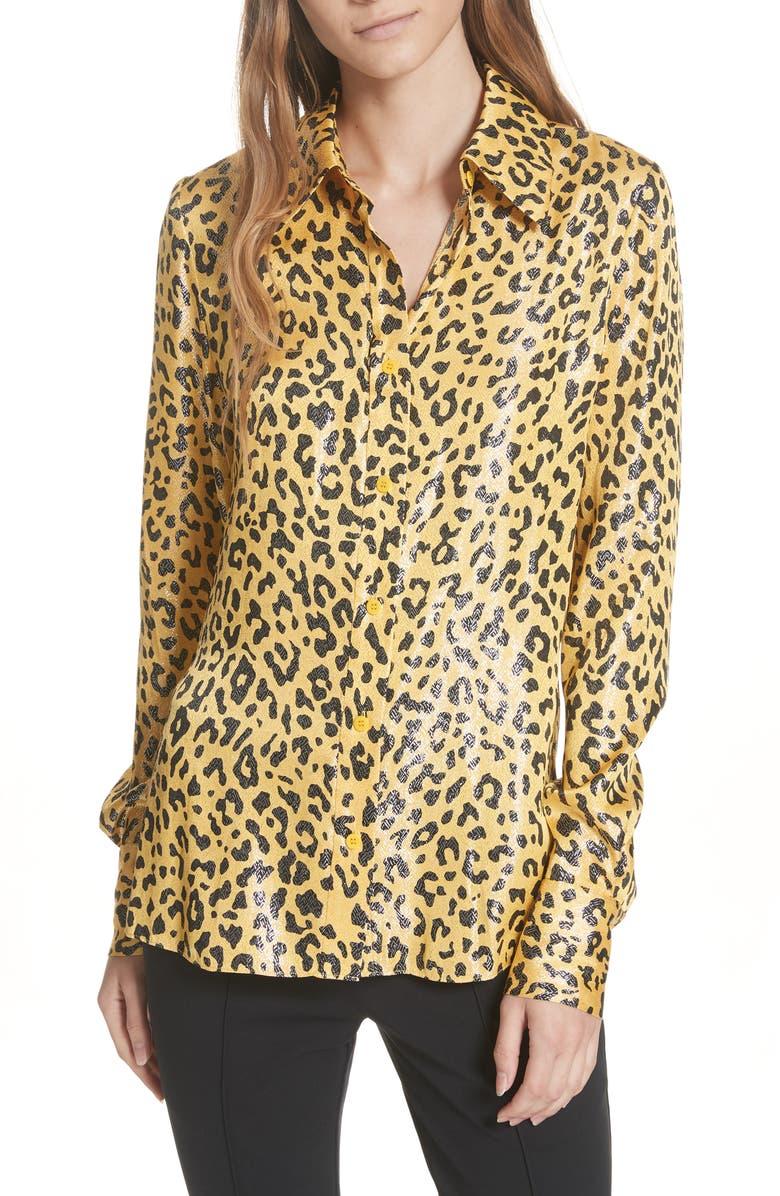 Leopard Print Silk & Metallic Shirt,                         Main,                         color, HEYFORD GO