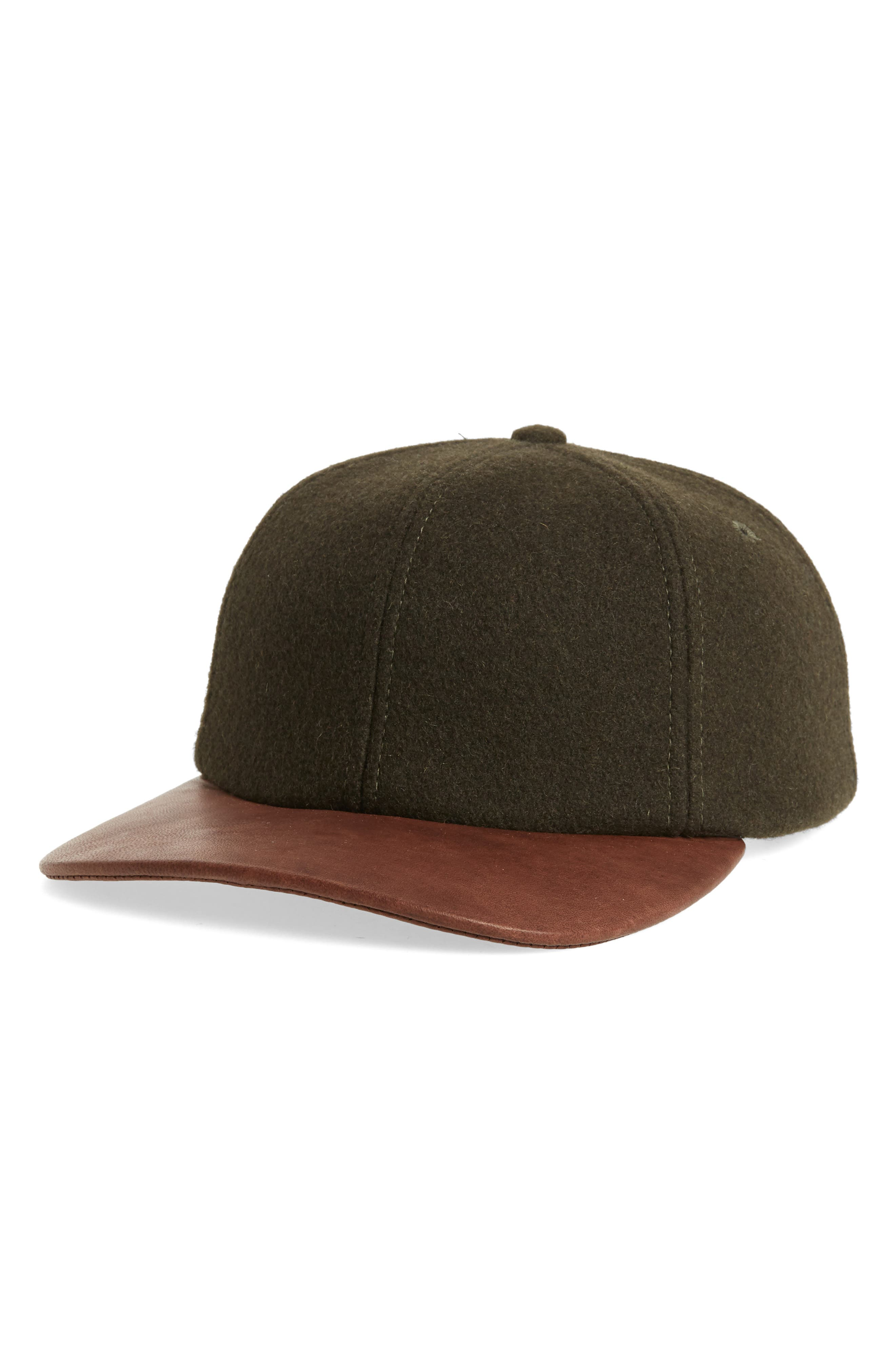 Melton Wool Blend Baseball Cap,                         Main,                         color, LODEN