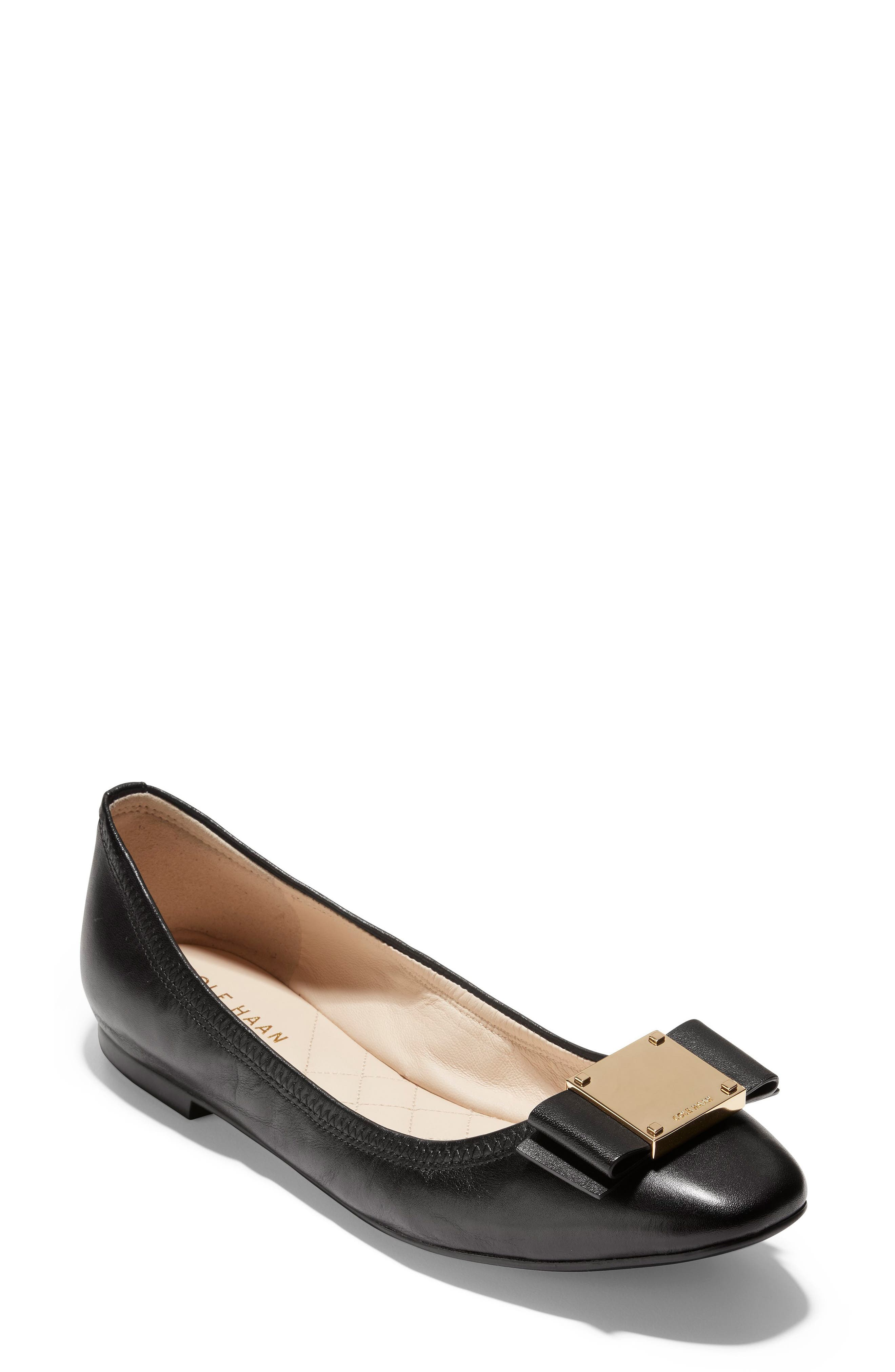 Tali Modern Bow Ballet Flat,                         Main,                         color, BLACK LEATHER