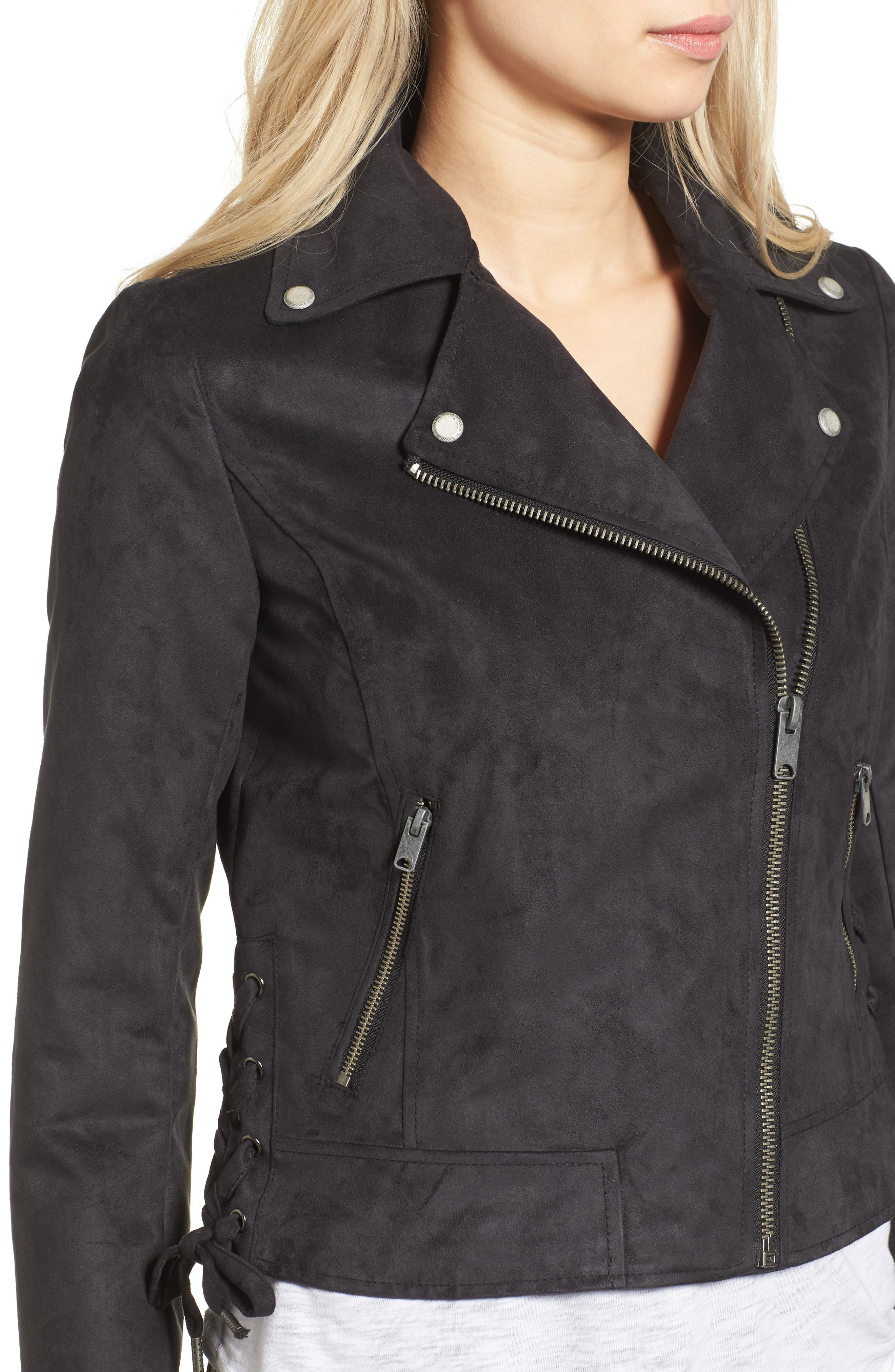 ANDREW MARC,                             Farryn Side Lace Faux Suede Jacket,                             Alternate thumbnail 4, color,                             001