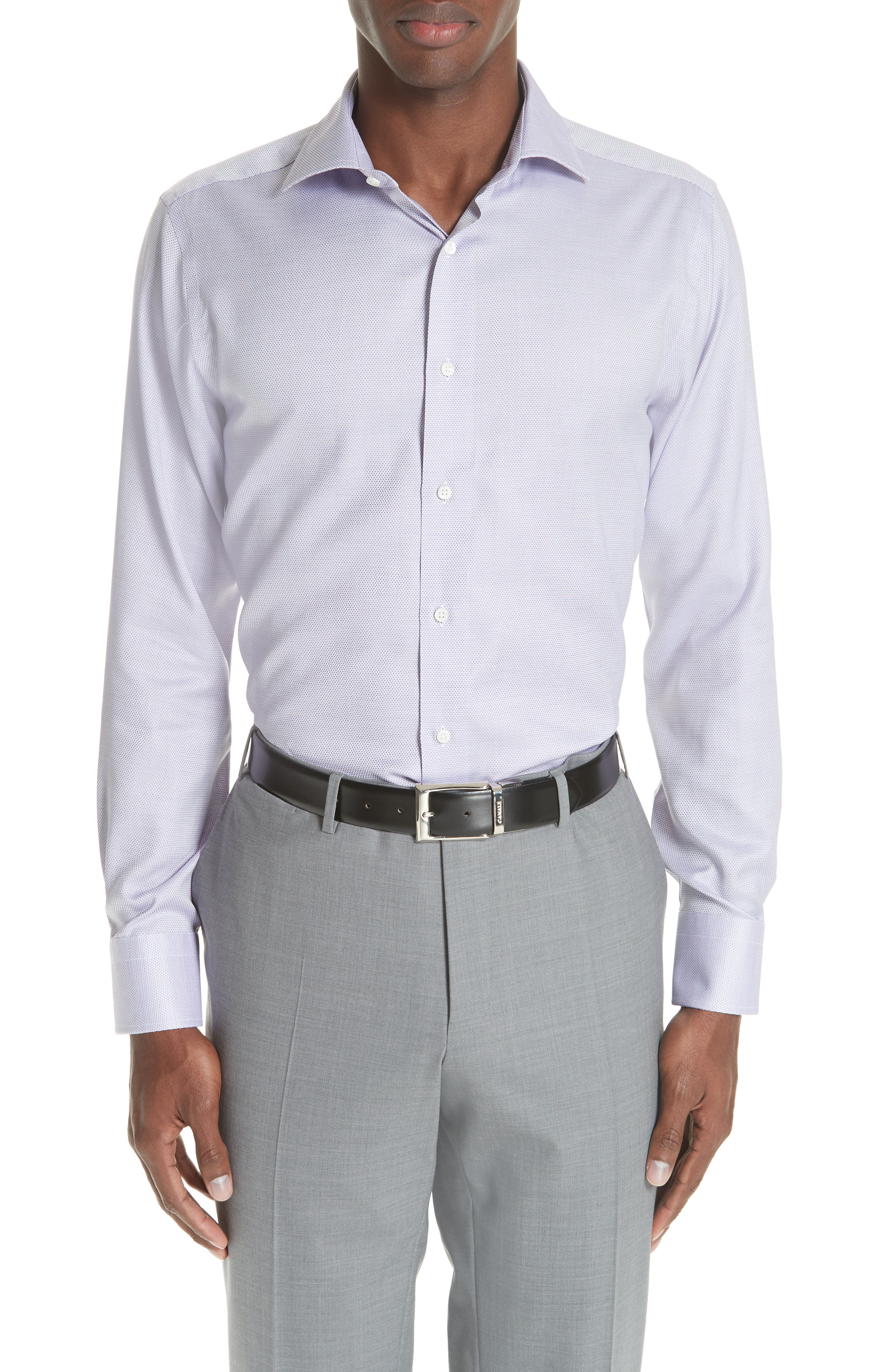 Trim Fit Dress Shirt,                             Main thumbnail 1, color,                             LIGHT PURPLE