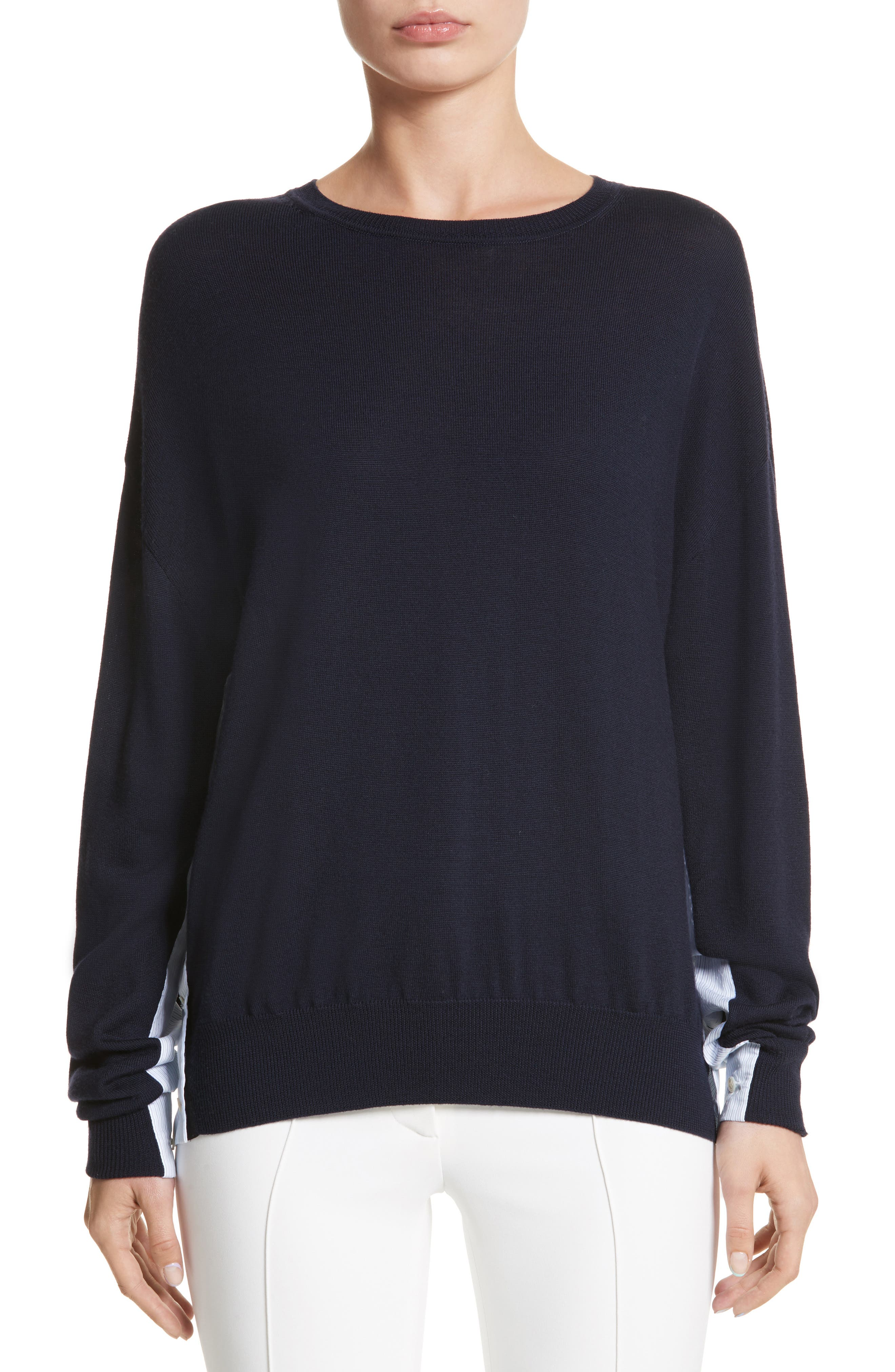 Cotton Gusset Merino Wool Sweater,                             Main thumbnail 1, color,