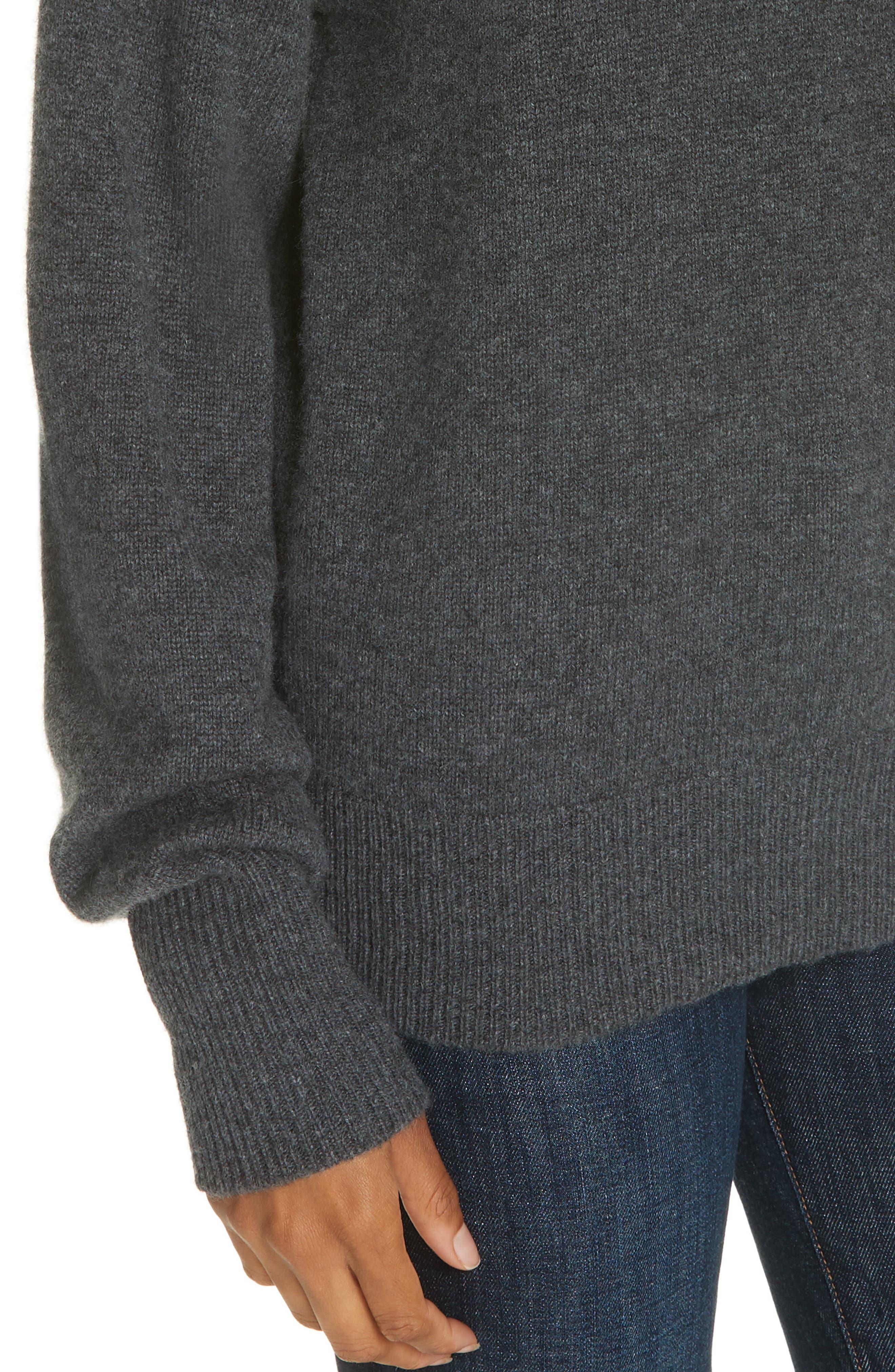 Cashmere Drop Shoulder Turtleneck Sweater,                             Alternate thumbnail 4, color,                             HEATHER BOULDER