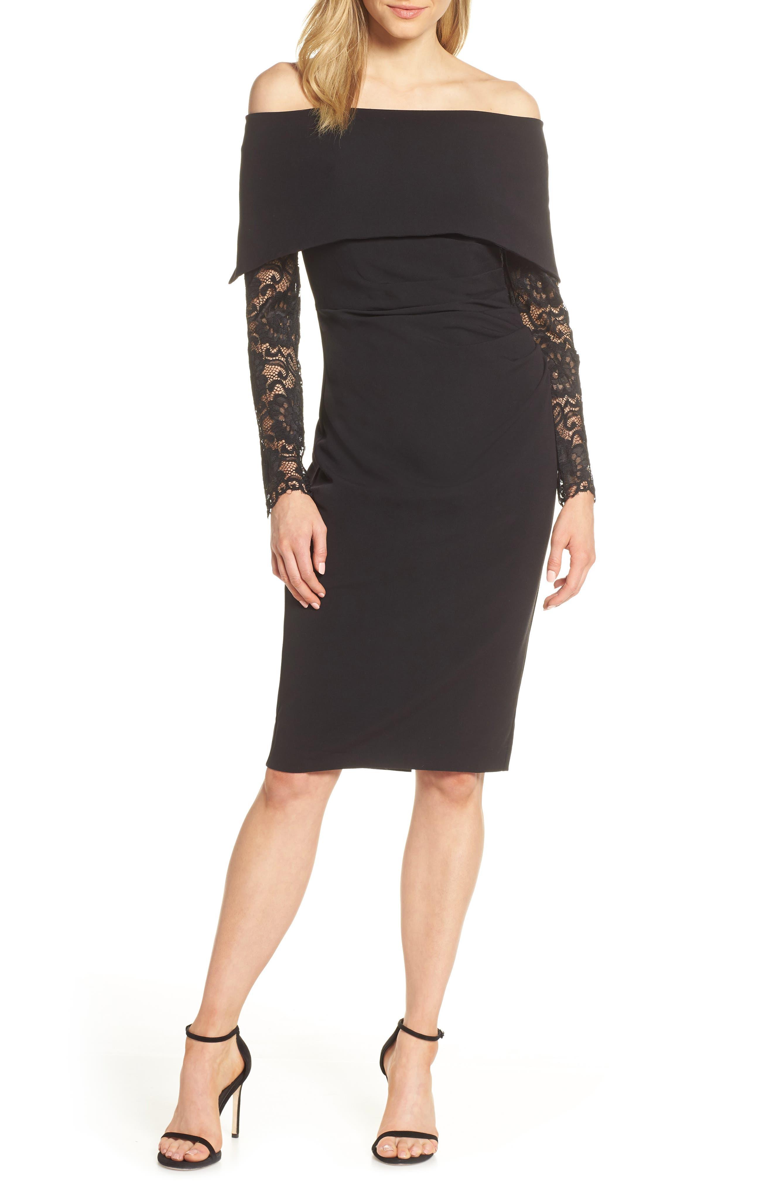 Vince Camuto Lace Sleeve Off The Shoulder Sheath Dress, Black