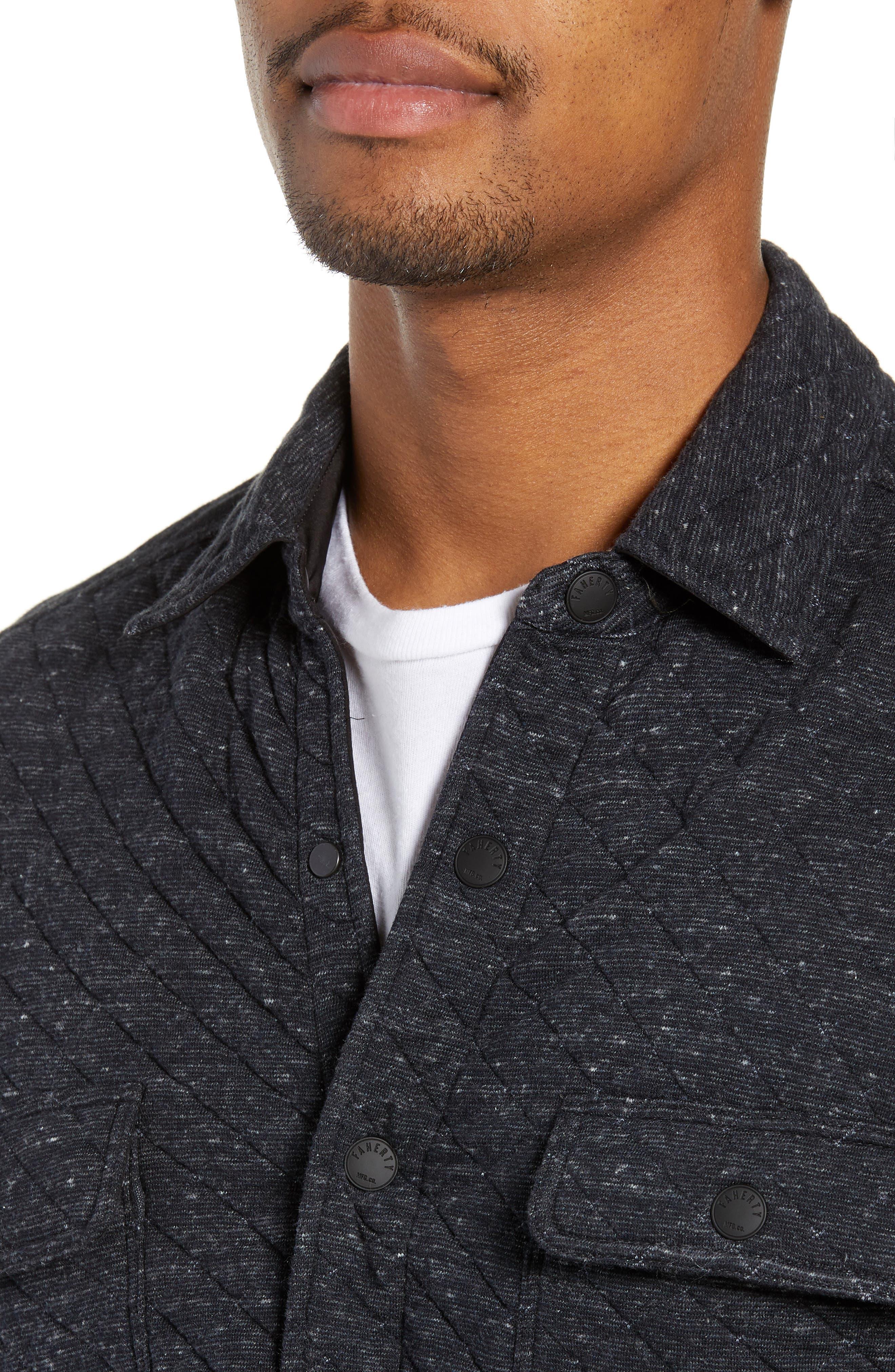 FAHERTY,                             Belmar Regular Fit Quilted Shirt Jacket,                             Alternate thumbnail 4, color,                             BLACK HEATHER