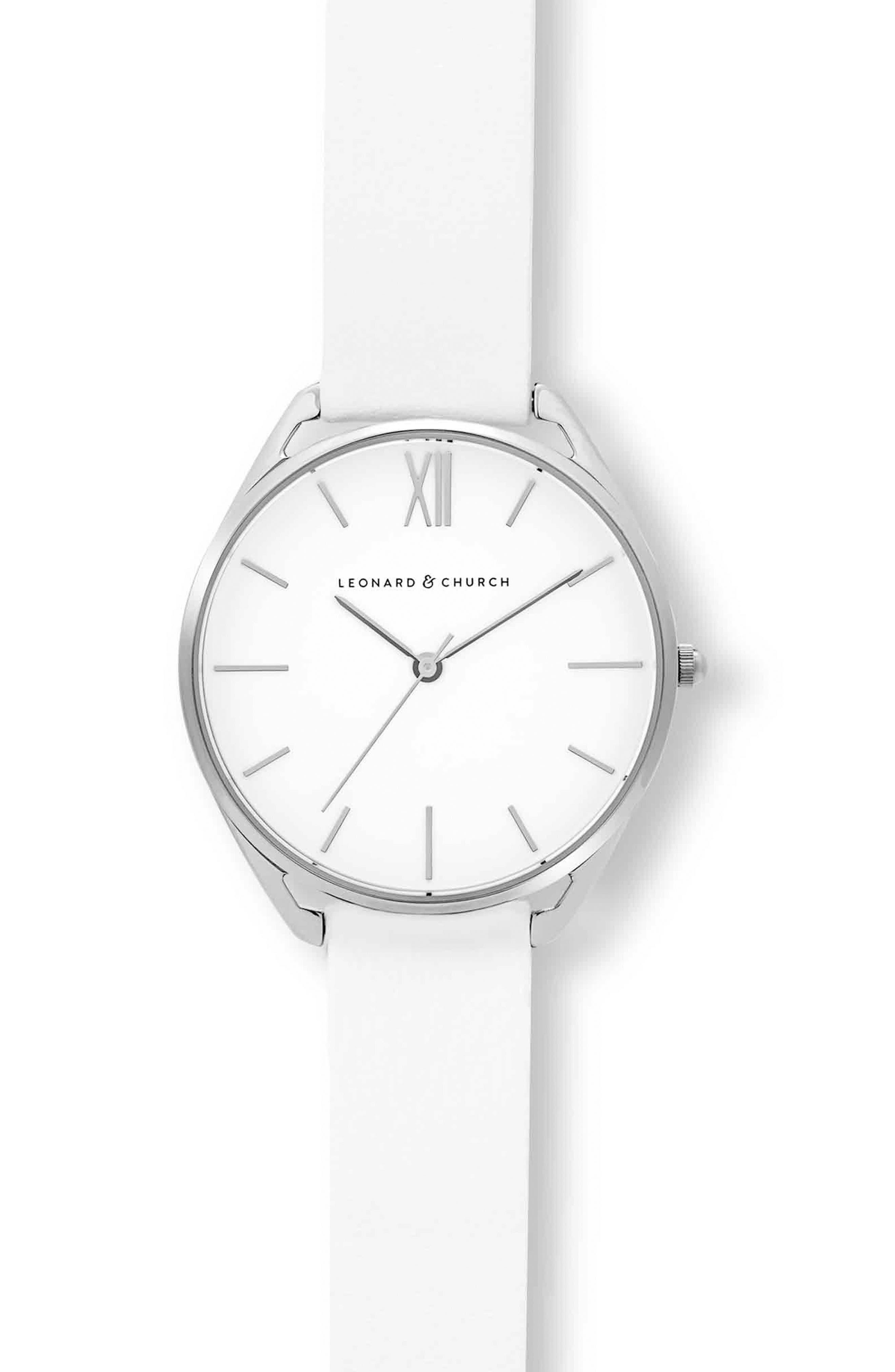 Leonard & Church Chelsea Leather Strap Watch, 34mm,                             Alternate thumbnail 11, color,