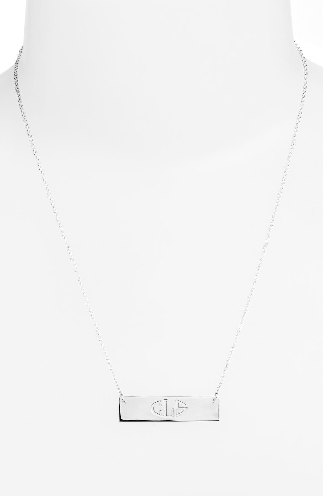 Personalized Cutout Bar Pendant Necklace,                             Alternate thumbnail 2, color,                             SILVER