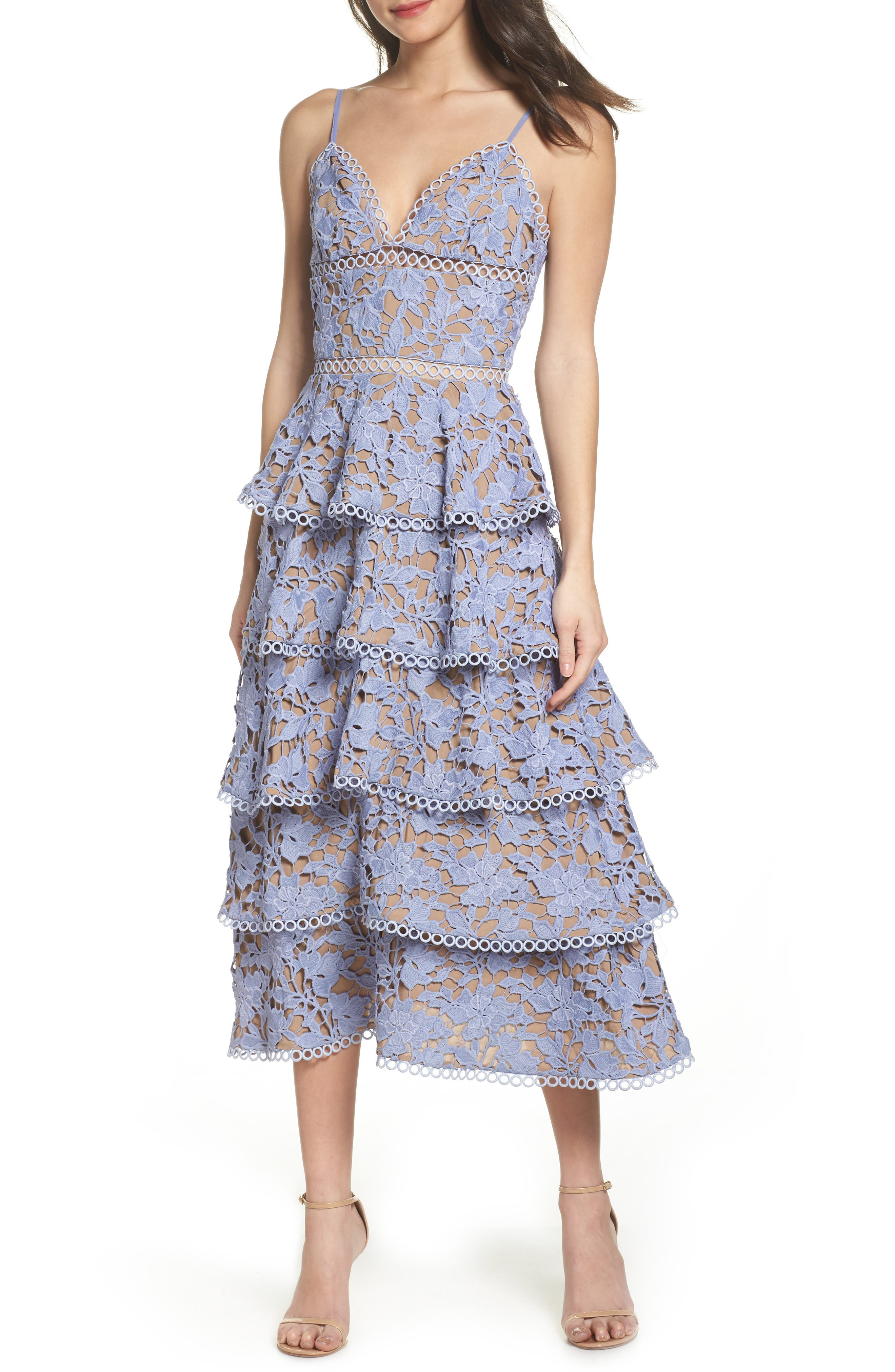 Camellia Lace Tiered Midi Dress,                         Main,                         color, VIOLET