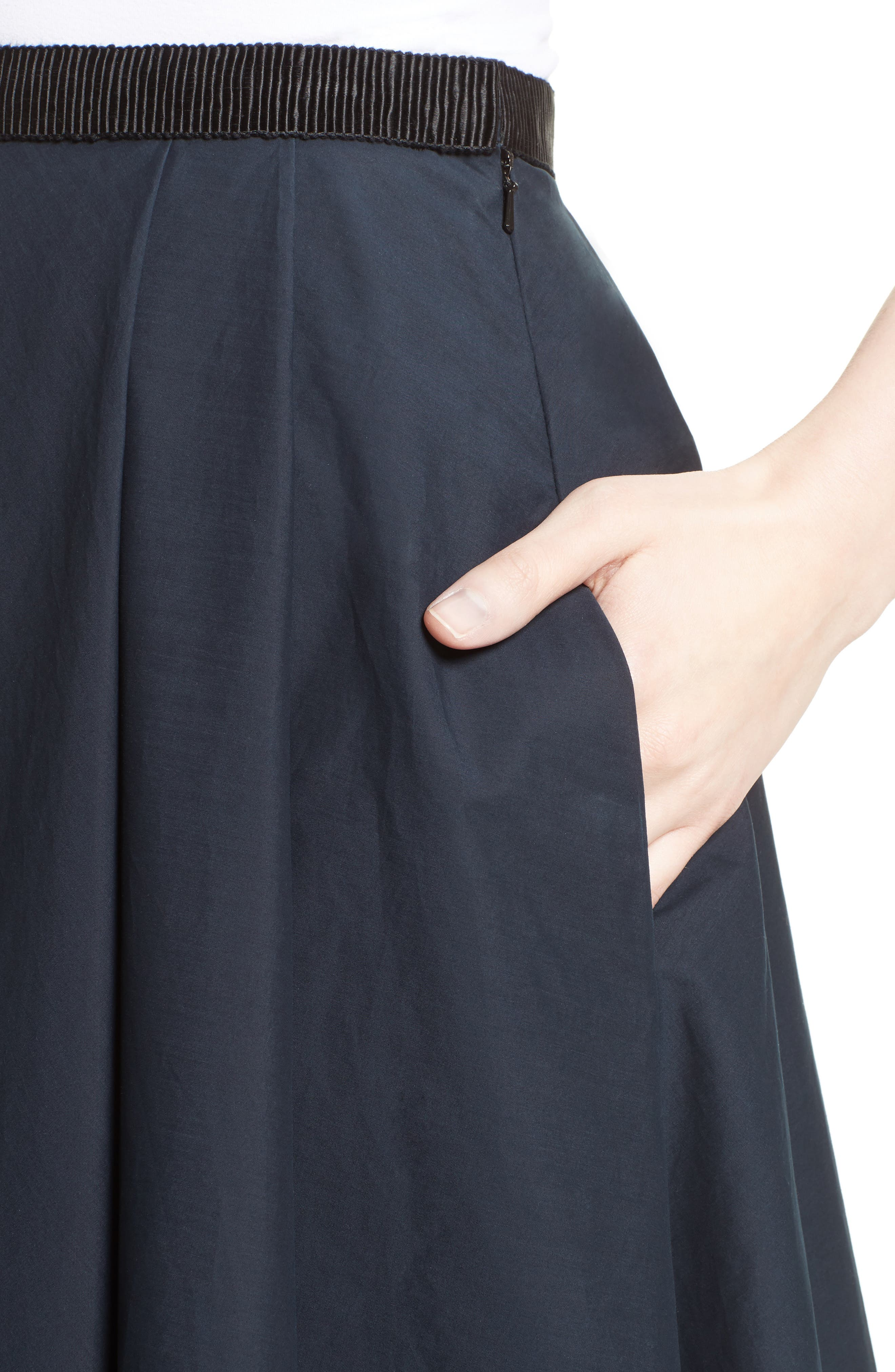 Ruffle Cotton A-Line Skirt,                             Alternate thumbnail 4, color,