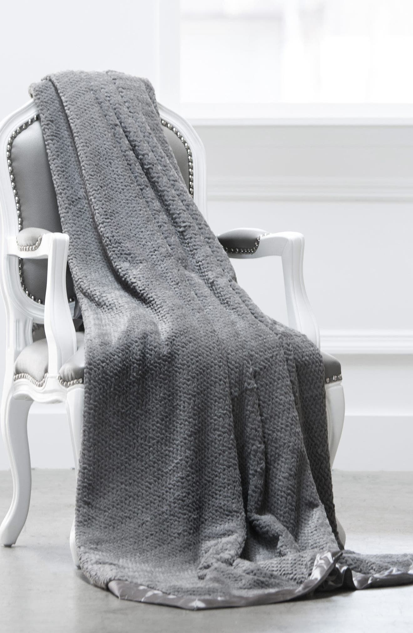 'Luxe Twist' Throw,                             Alternate thumbnail 3, color,                             CHARCOAL