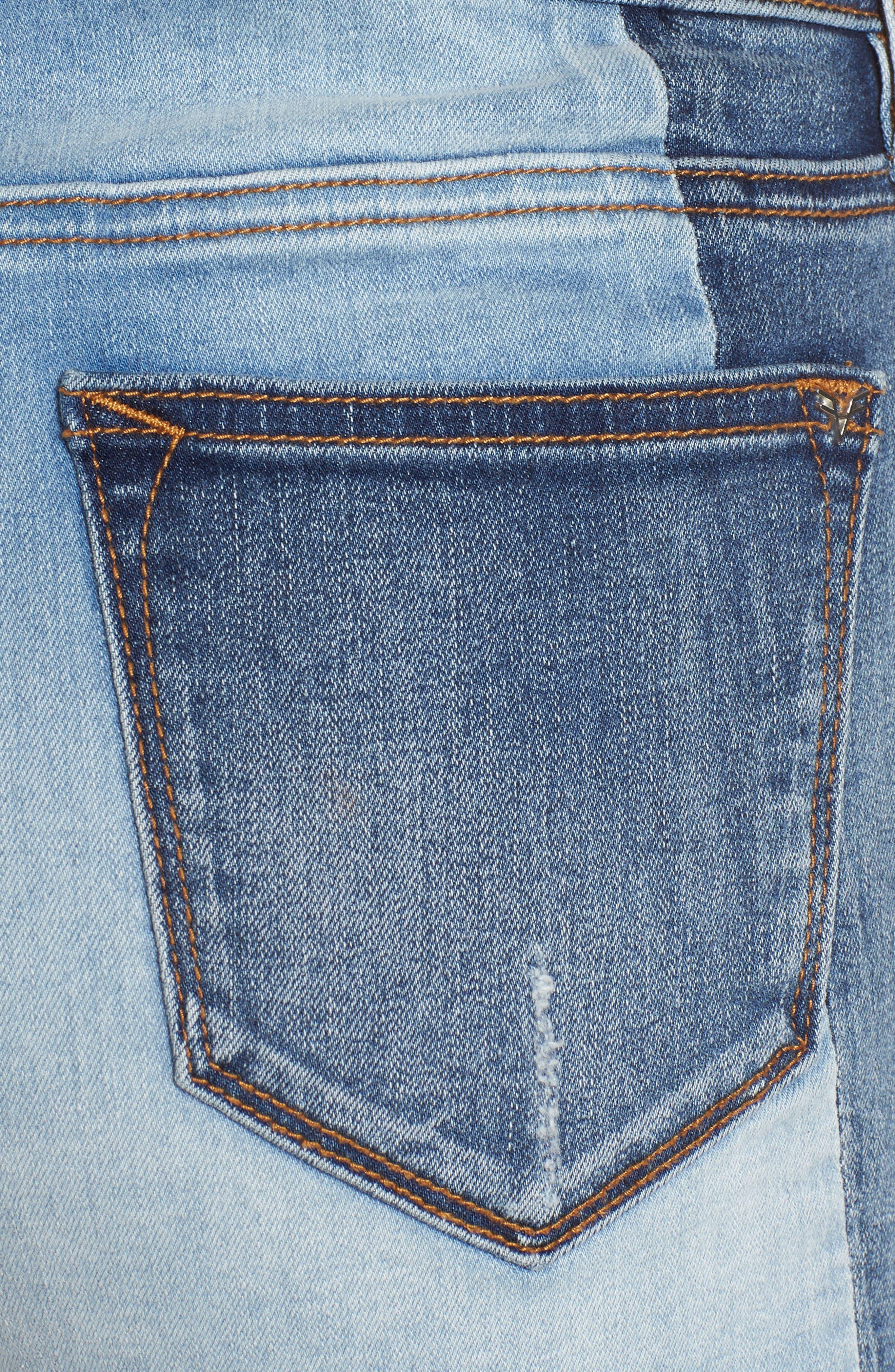 Colorblock Denim Shorts,                             Alternate thumbnail 6, color,                             426