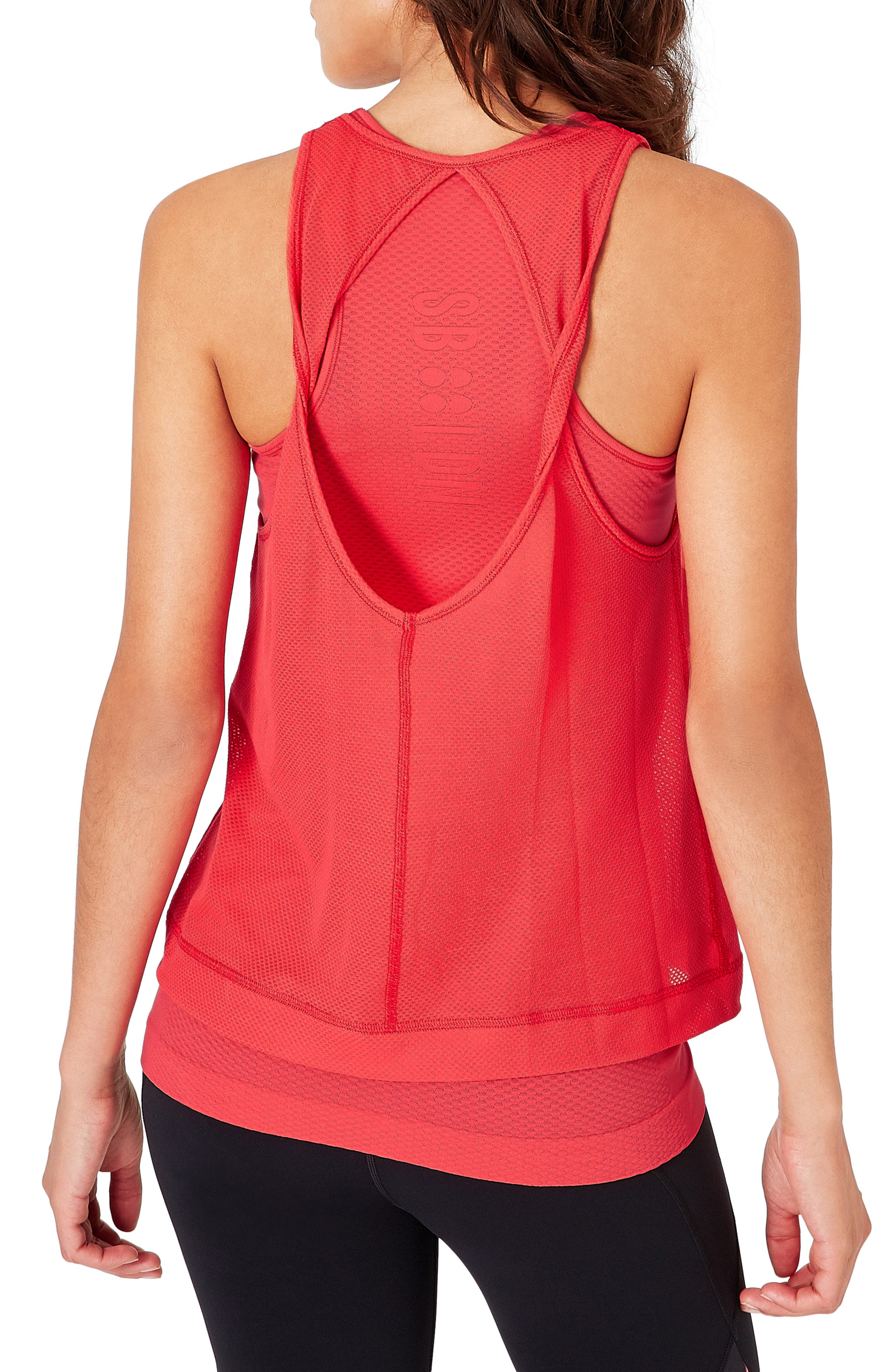 SWEATY BETTY,                             Double Time Seamless Tank,                             Alternate thumbnail 2, color,                             TULIP RED