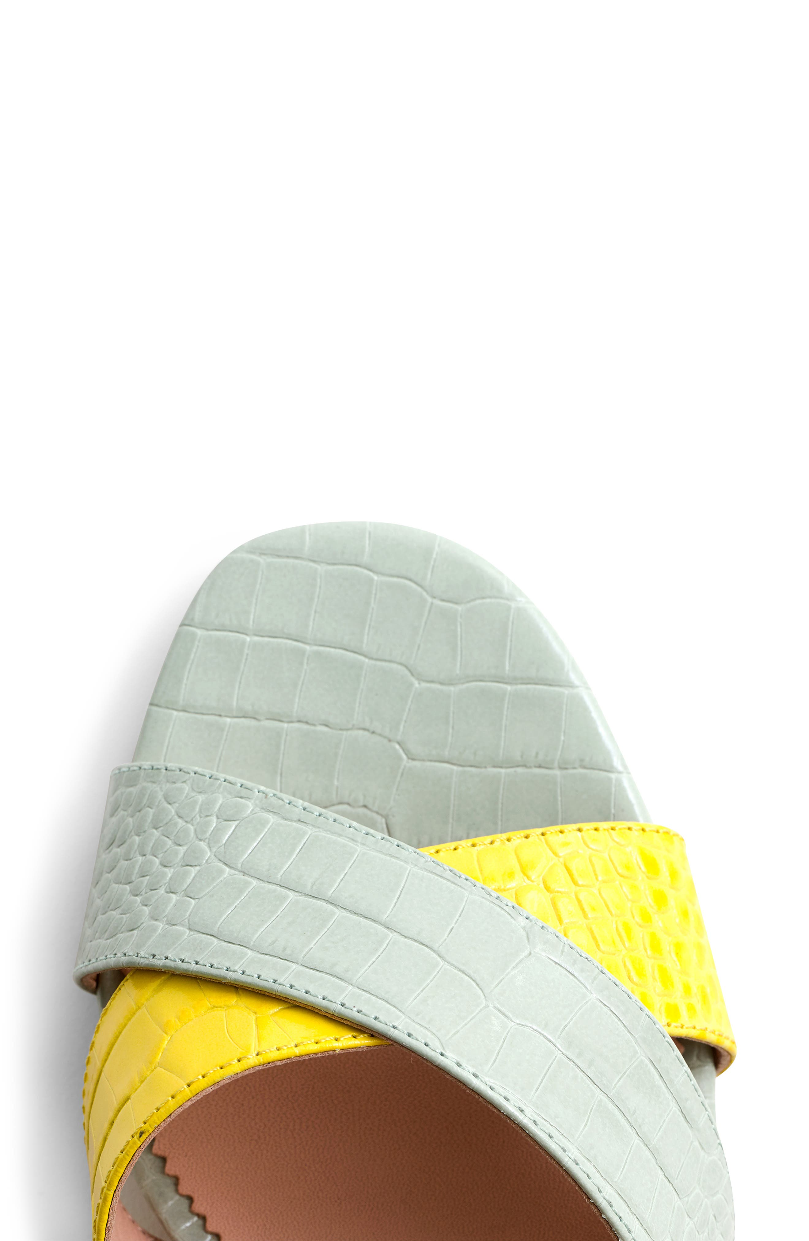 Penny Colorblock Faux Croc Slide Sandal,                             Alternate thumbnail 3, color,                             BRIGHT YOLK SUEDE