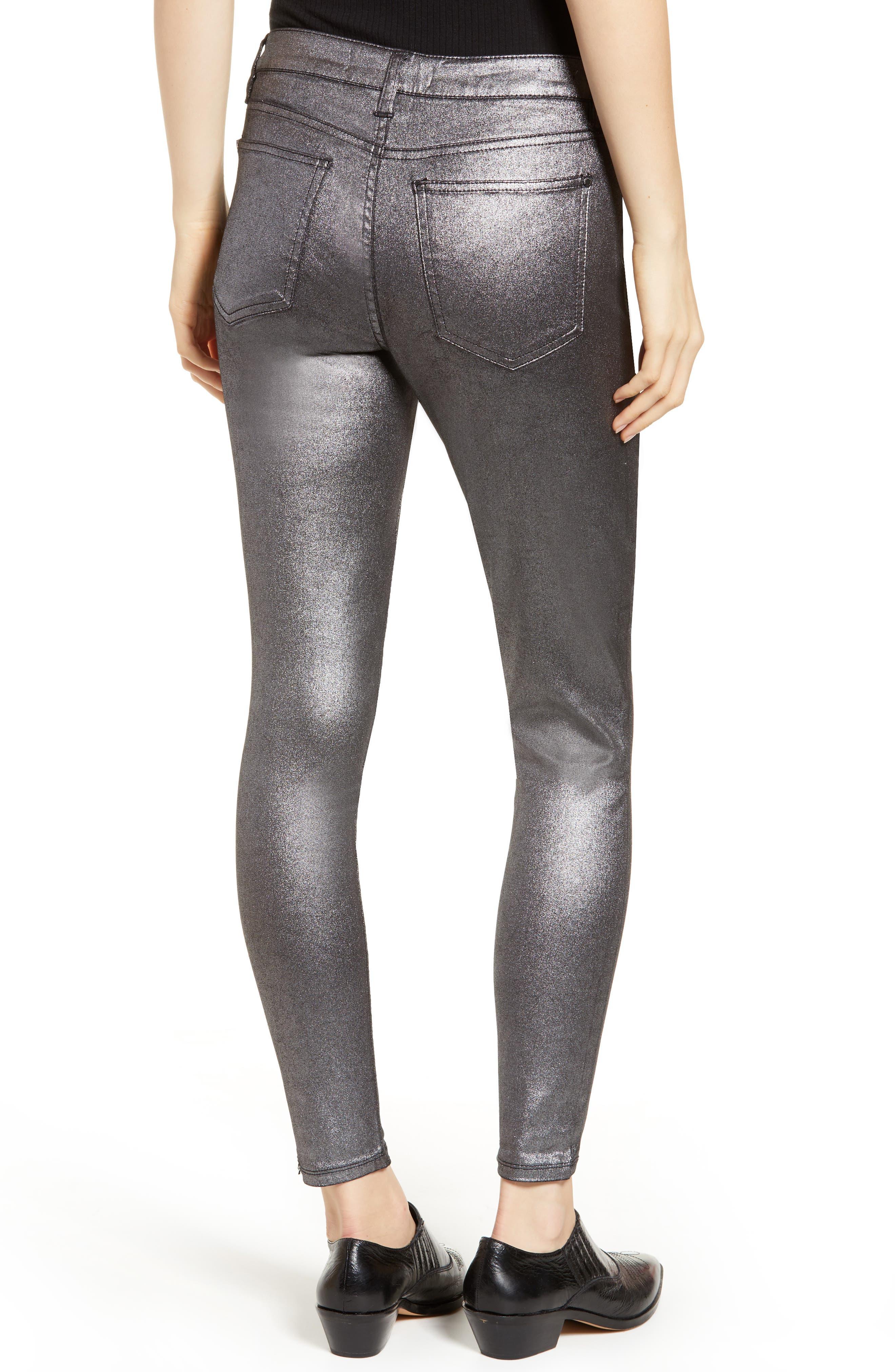 Metallic Coated Skinny Jeans,                             Alternate thumbnail 2, color,                             001