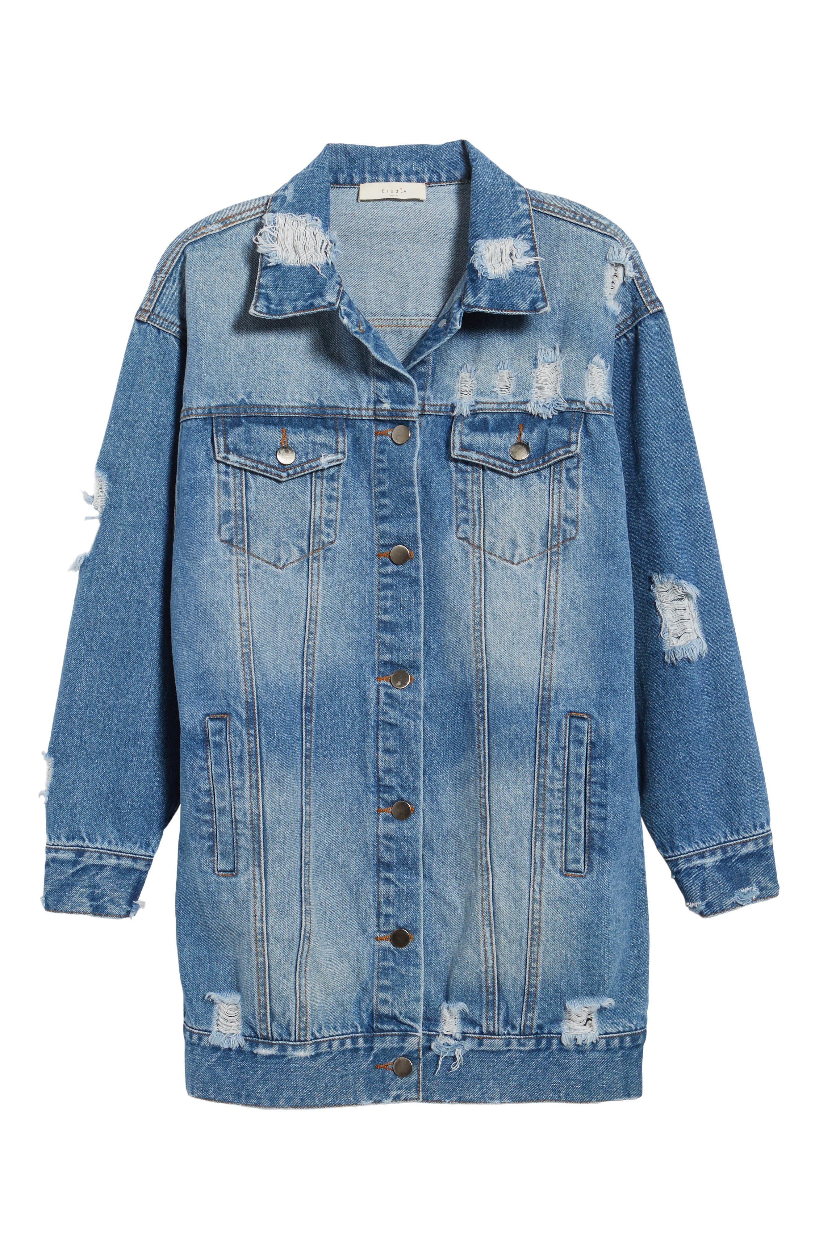 Decon Longline Denim Jacket,                             Alternate thumbnail 5, color,                             450