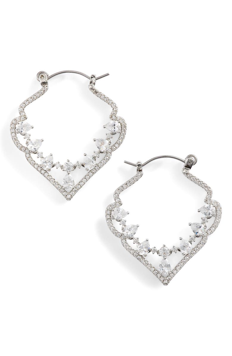 Jenny Packham PAVE CRYSTAL HOOP EARRINGS