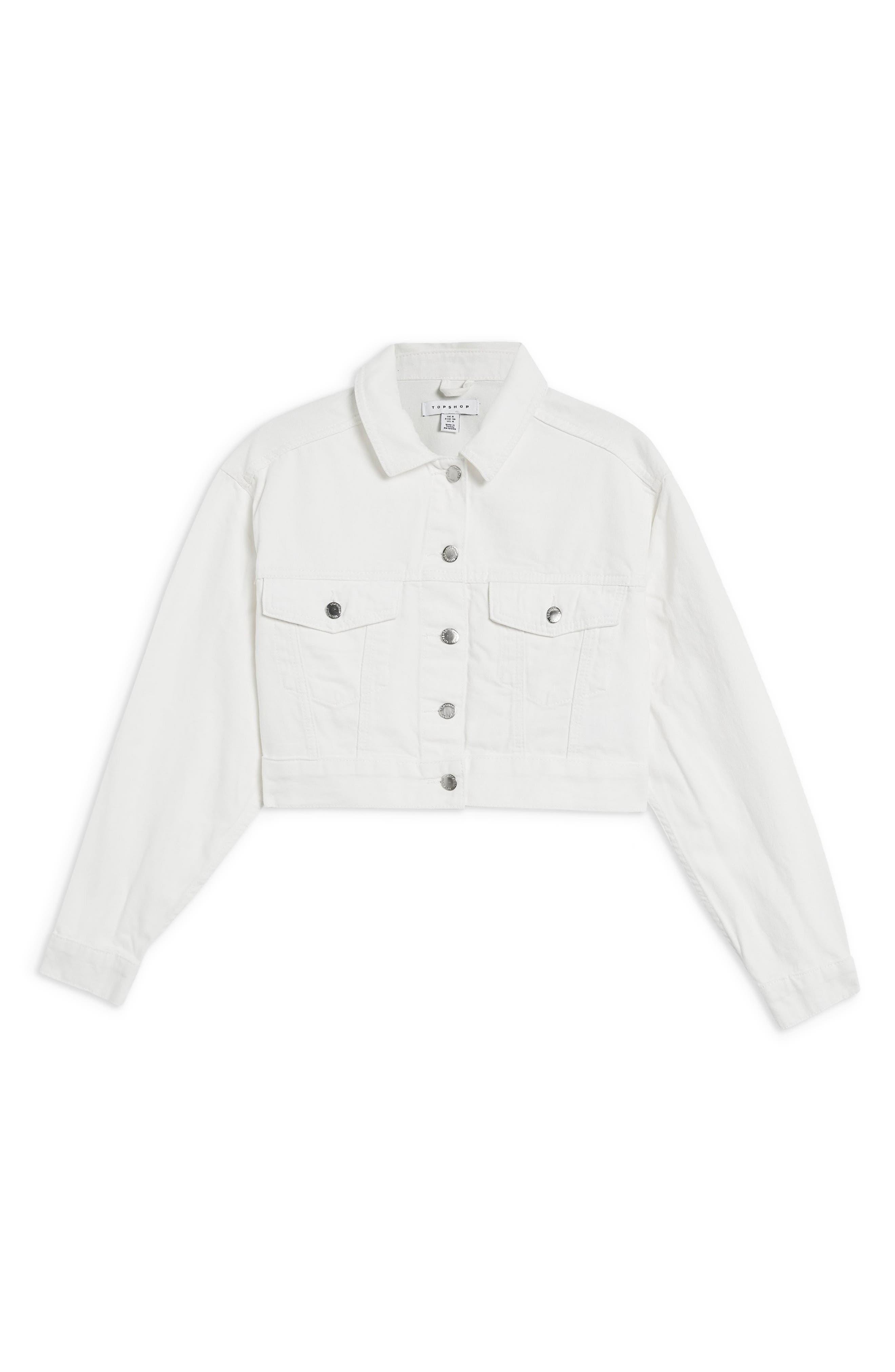 Classic Crop Denim Jacket,                             Alternate thumbnail 4, color,                             WHITE