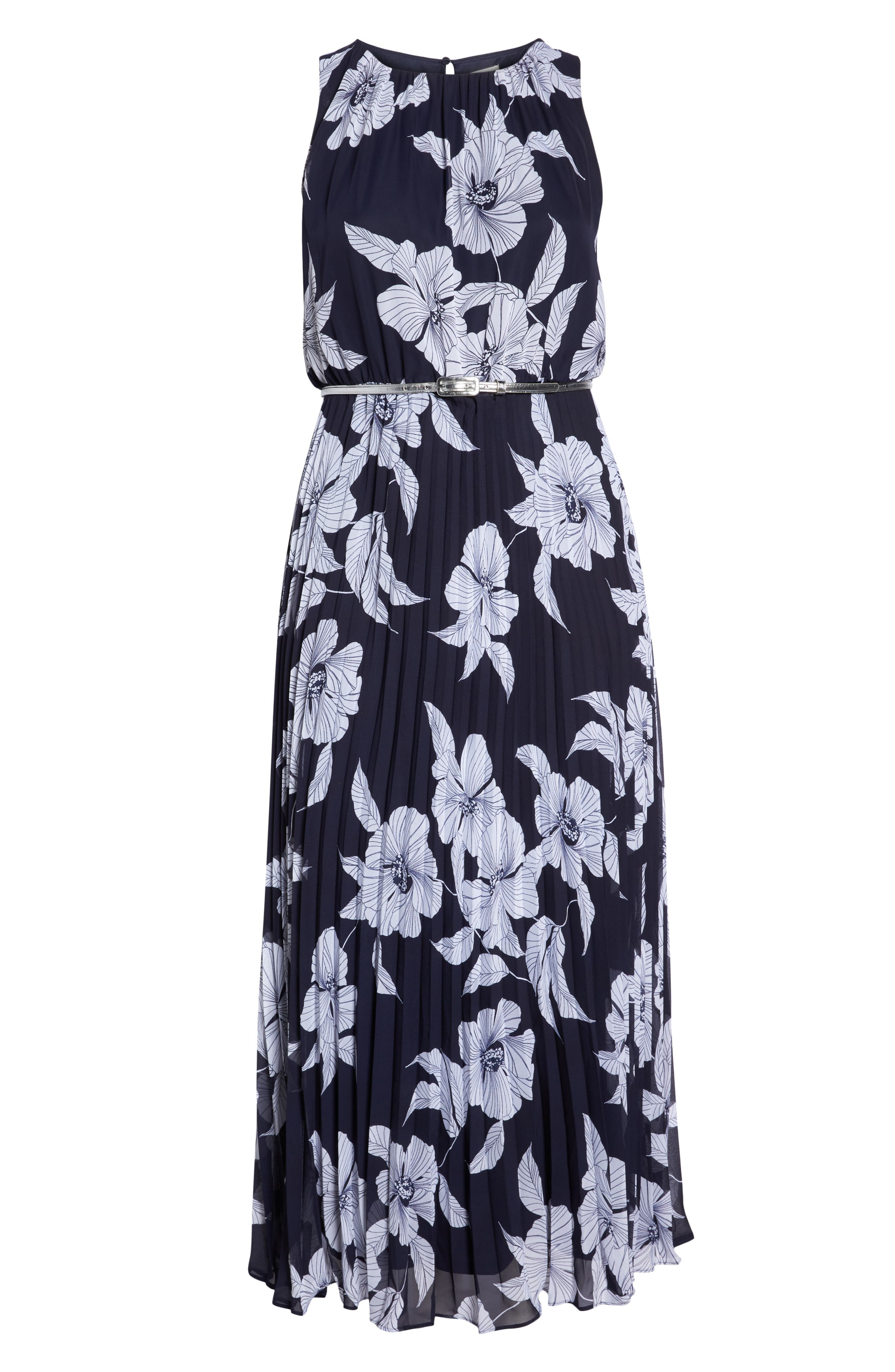 Floral Belted Pleated Maxi Dress,                             Alternate thumbnail 7, color,                             400