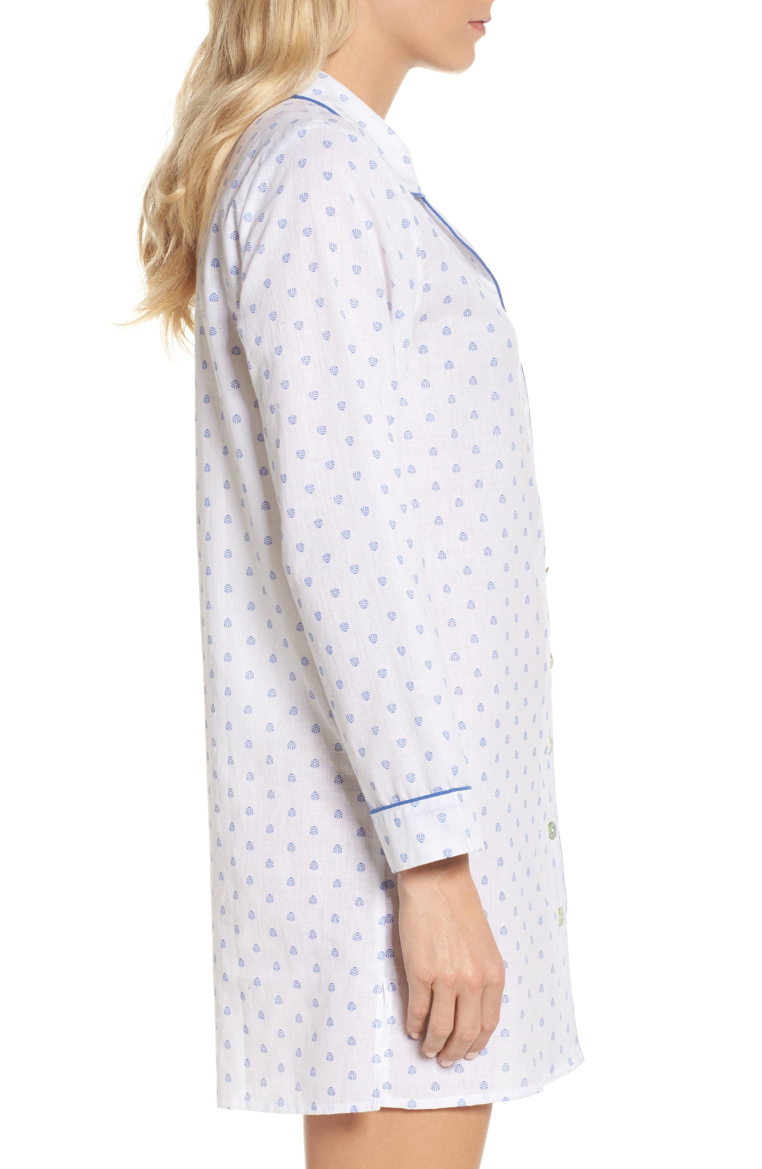 Print Washed Cotton Sleep Shirt,                             Alternate thumbnail 3, color,                             100