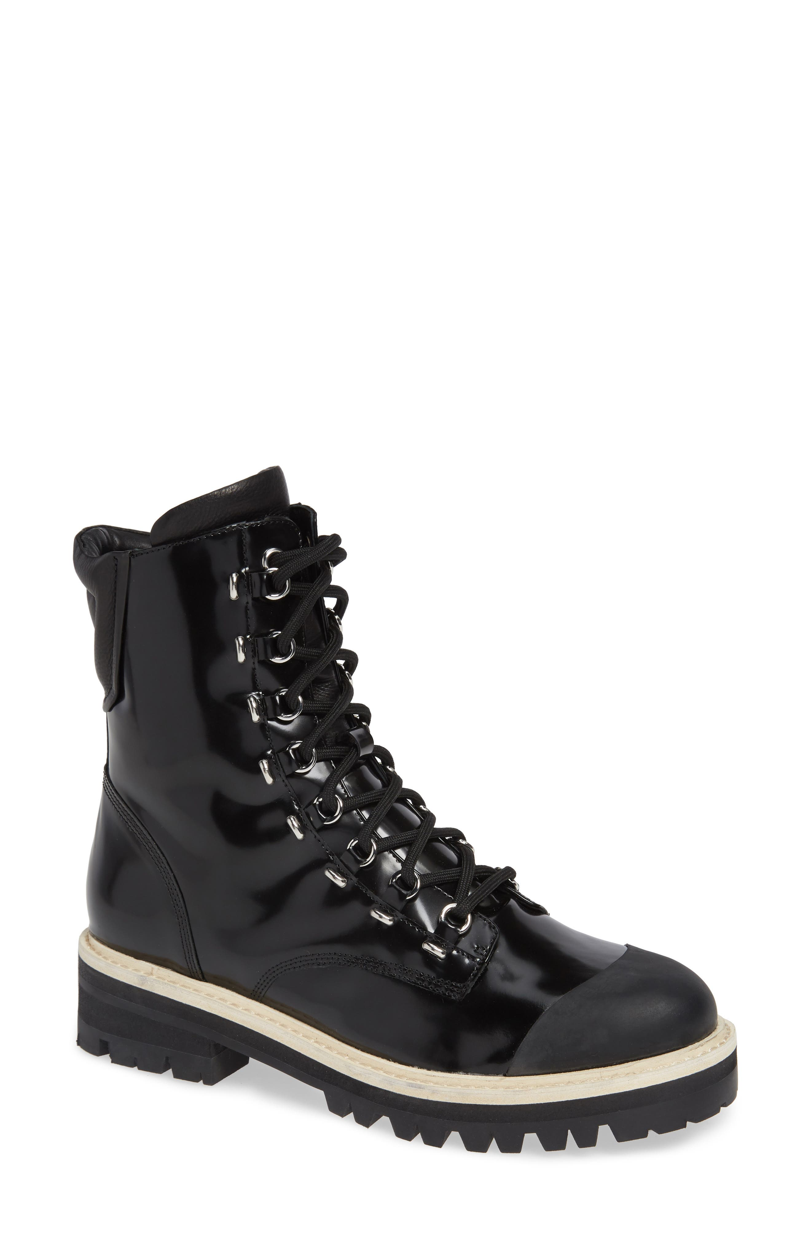 Women'S Irene Round Toe Leather Boots in Black