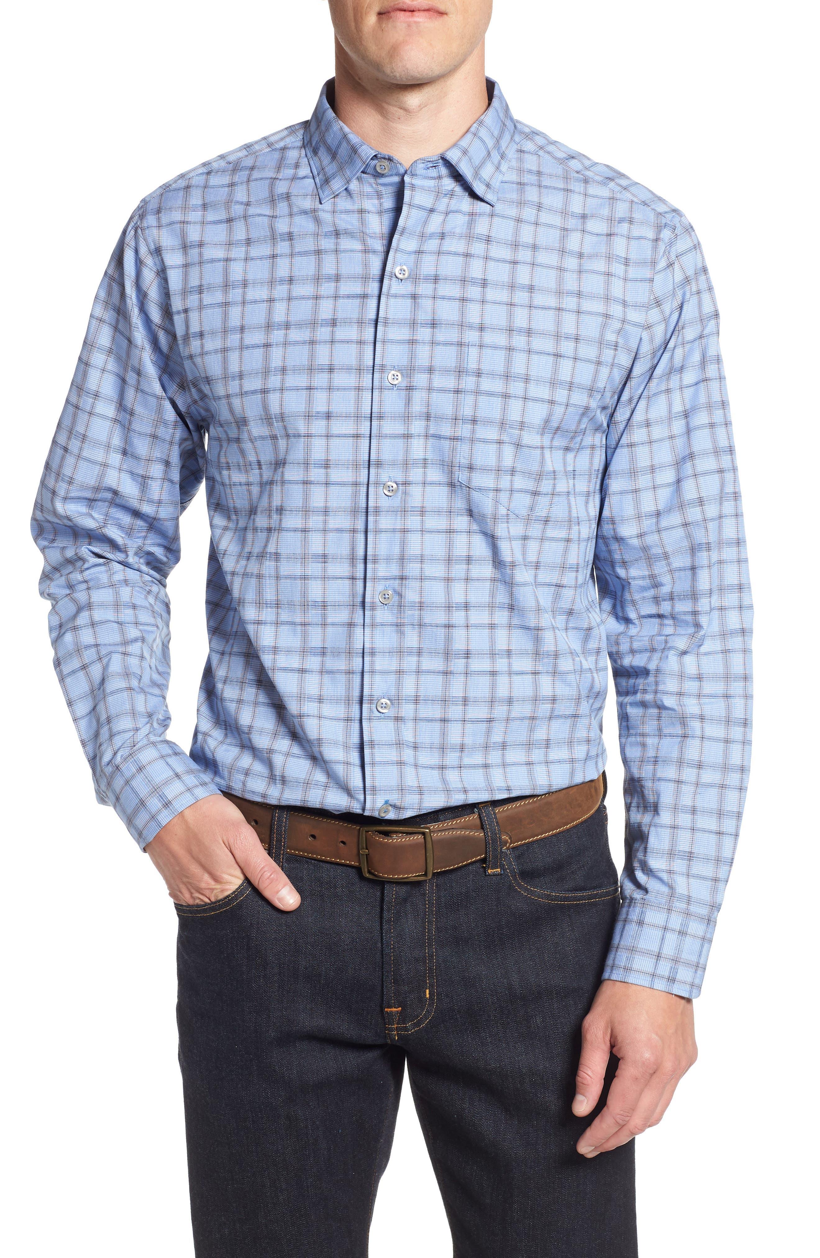 Caturra Check Sport Shirt,                             Main thumbnail 1, color,                             BLUE JEAN