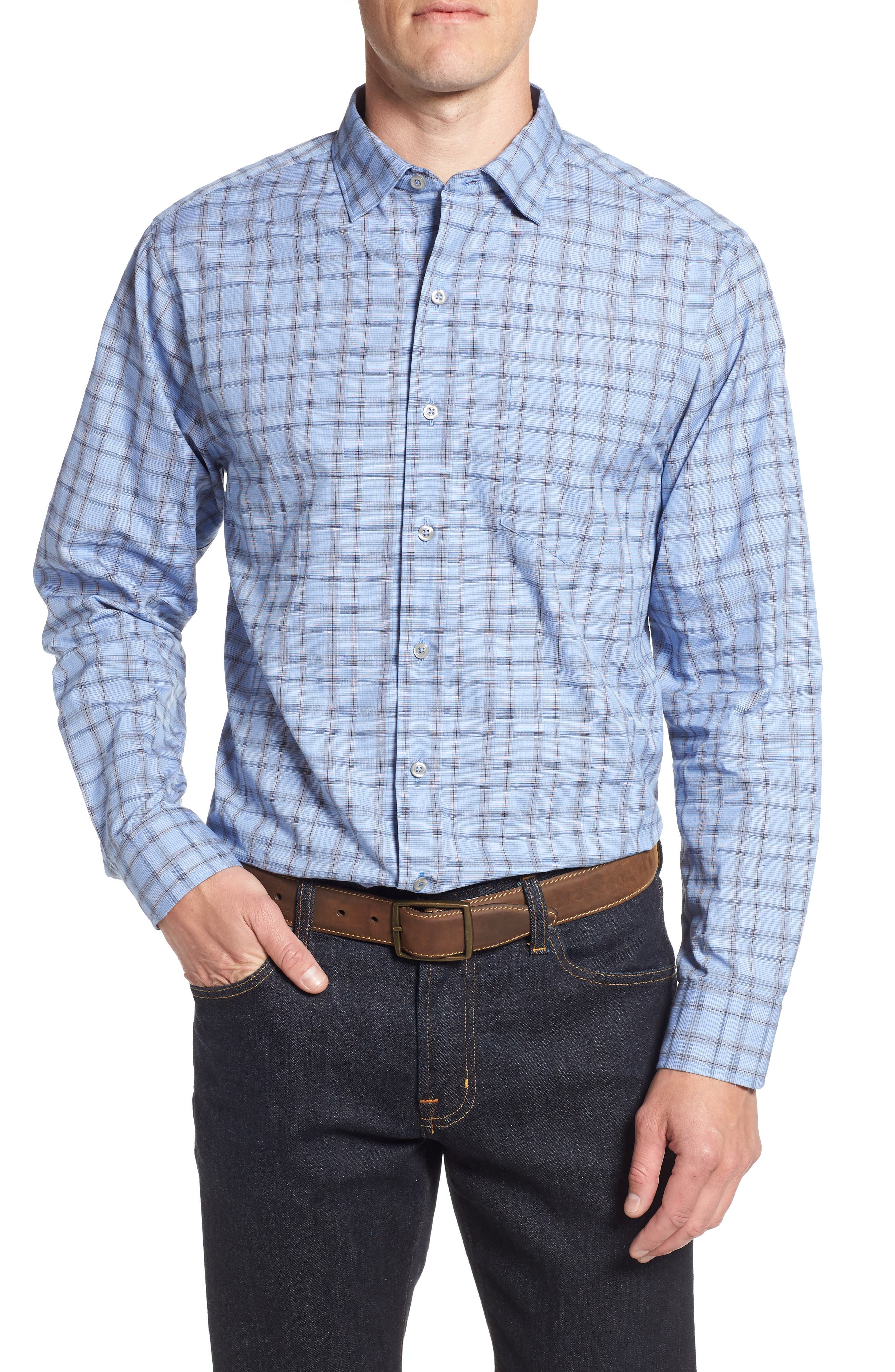Caturra Check Sport Shirt,                         Main,                         color, BLUE JEAN