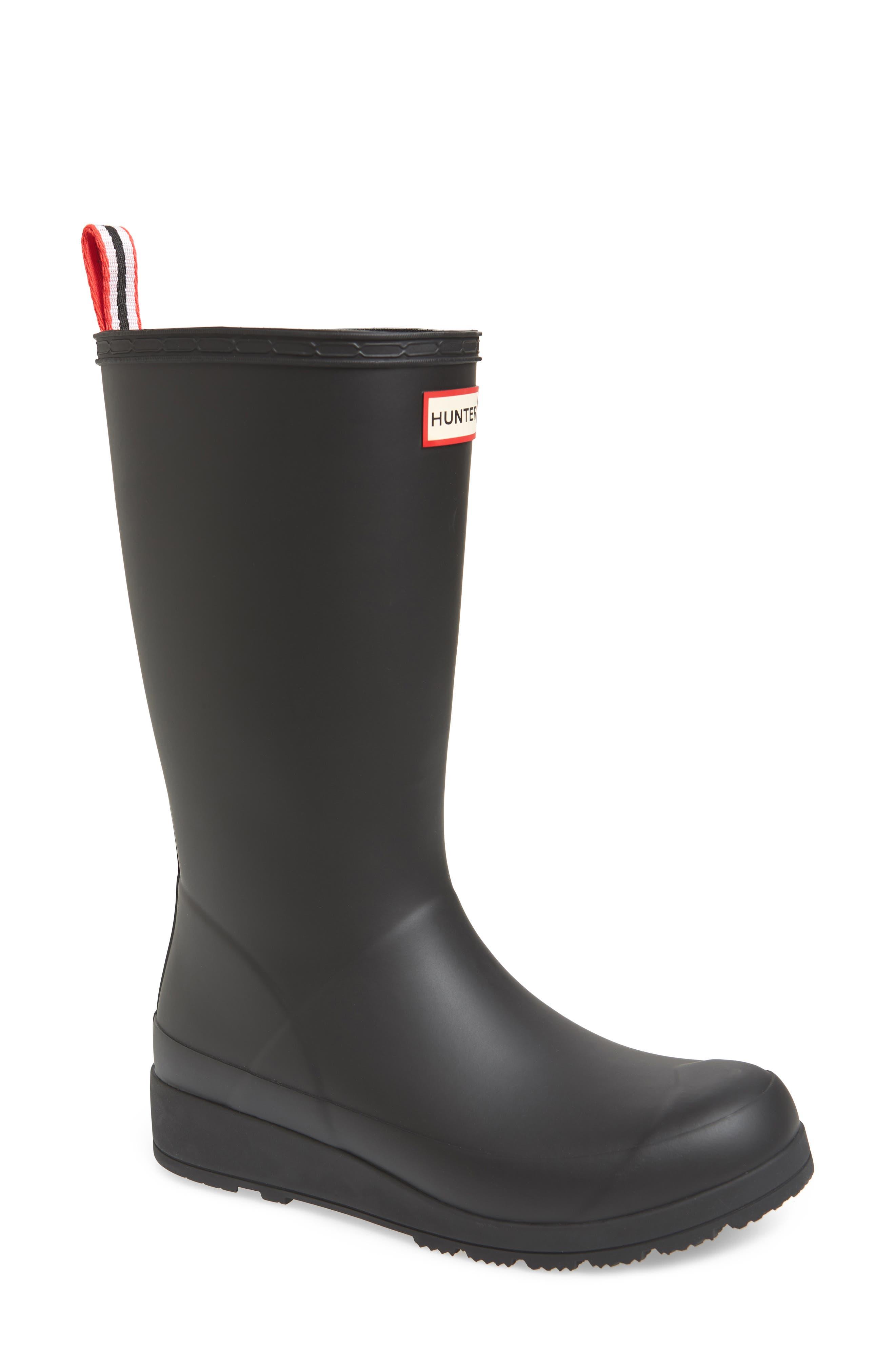 Hunter Original Play Tall Waterproof Rain Boot, Black