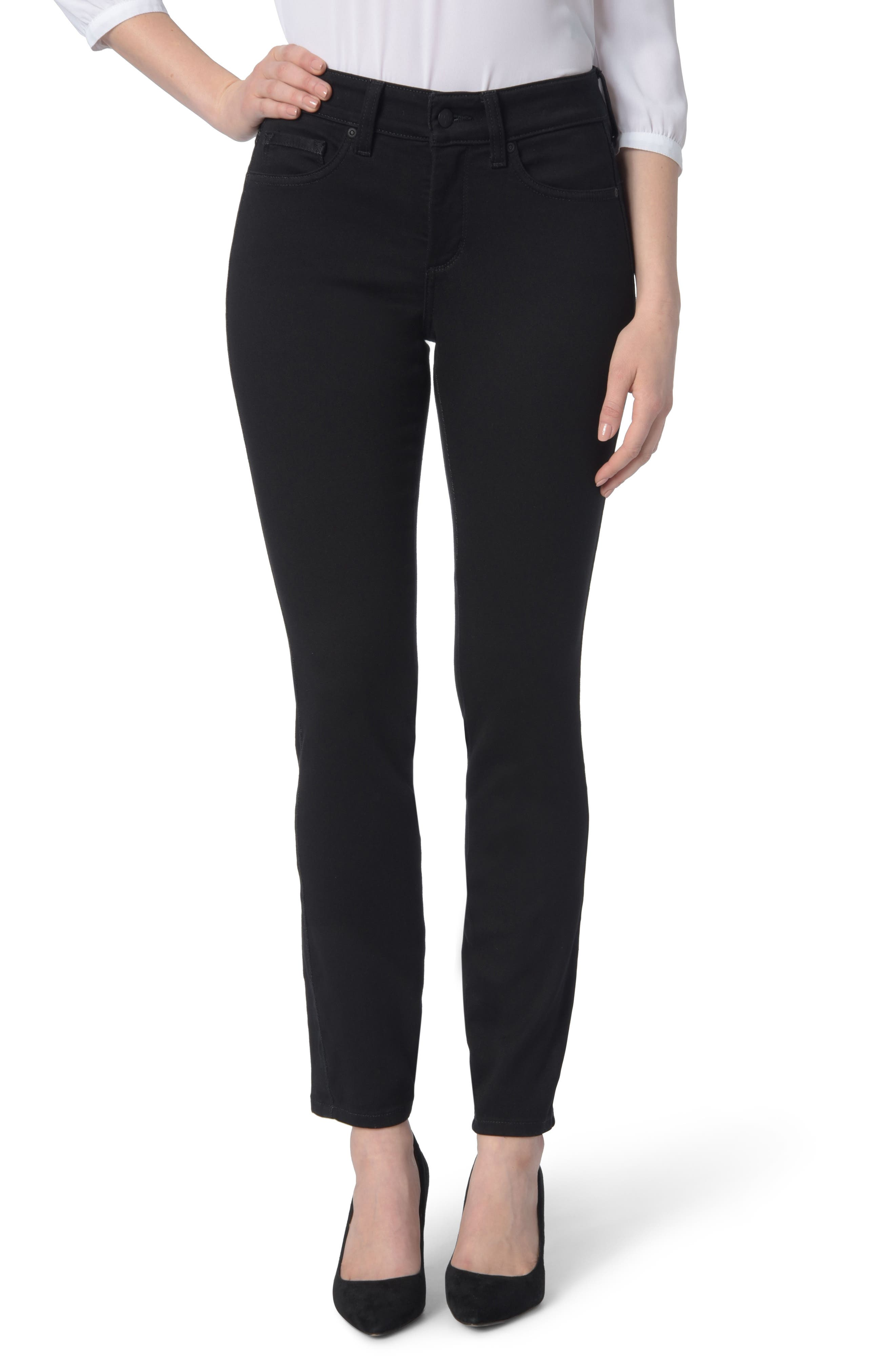 Ami High Waist Colored Stretch Skinny Jeans,                             Main thumbnail 1, color,                             BLACK
