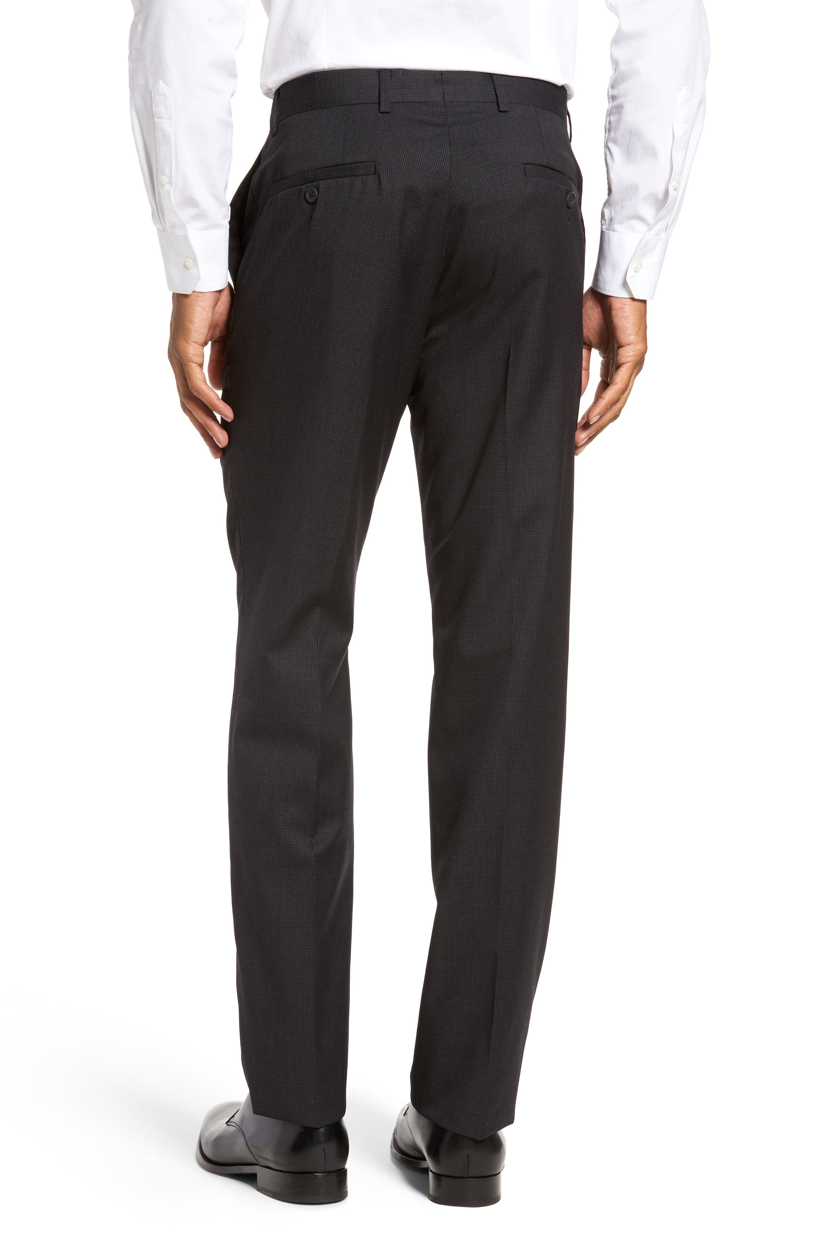 Flat Front Check Wool Trousers,                             Alternate thumbnail 3, color,                             001