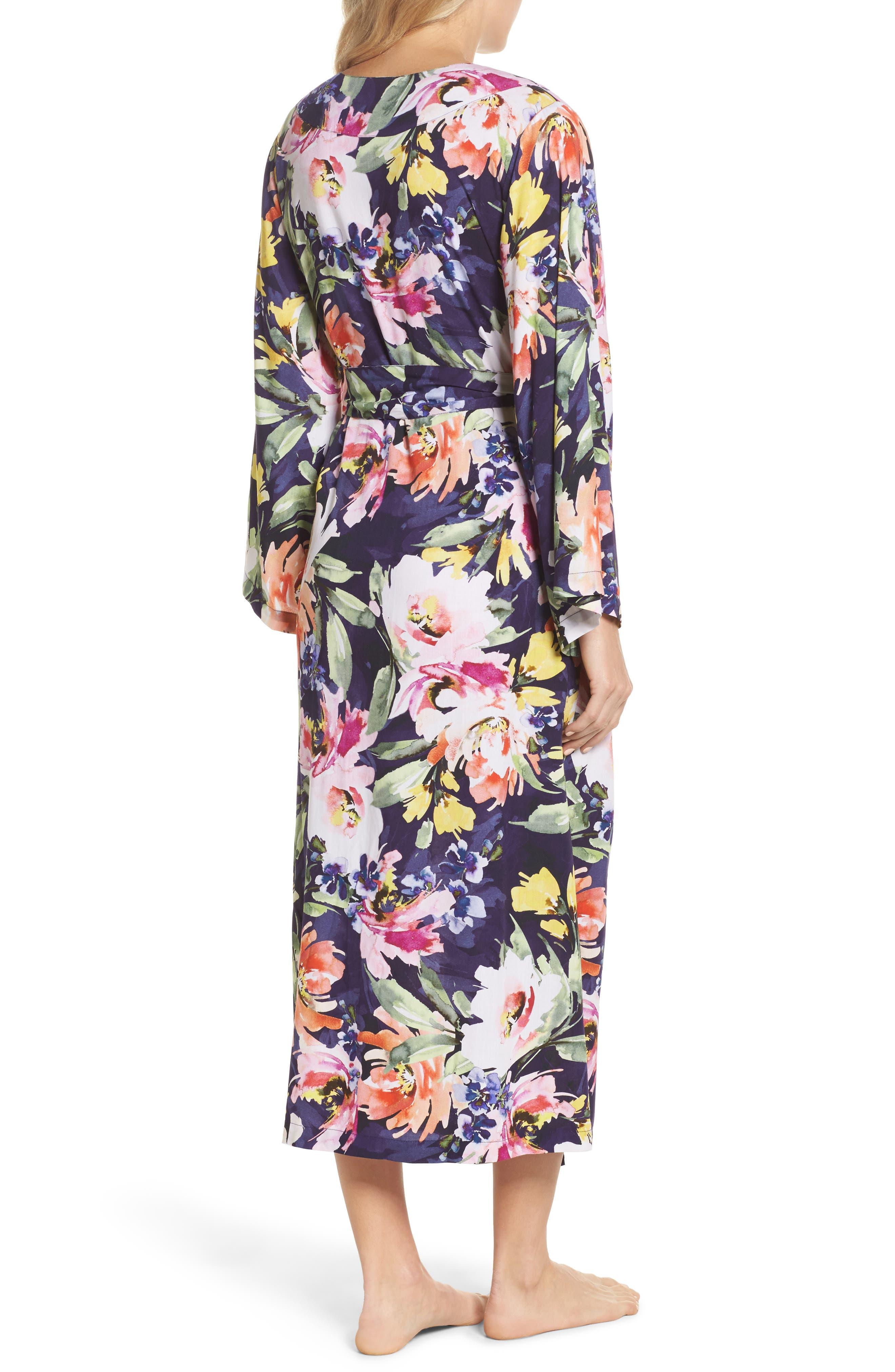 Long Floral Kimono Robe,                             Alternate thumbnail 3, color,