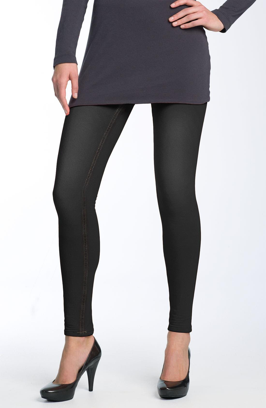 HUE,                             'Skinny Jeanz' Leggings,                             Main thumbnail 1, color,                             001