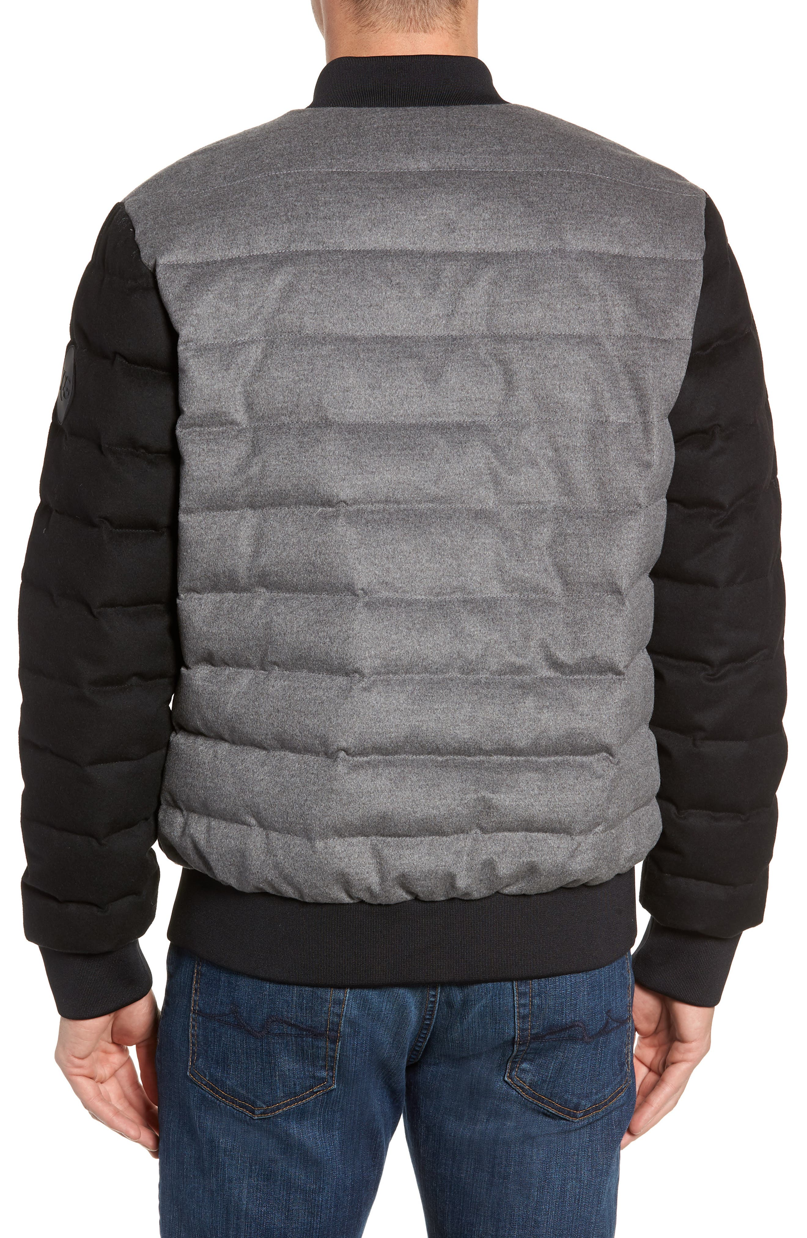 Gavin Down Bomber Jacket,                             Alternate thumbnail 2, color,                             MEDIUM HEATHER GREY/ BLACK