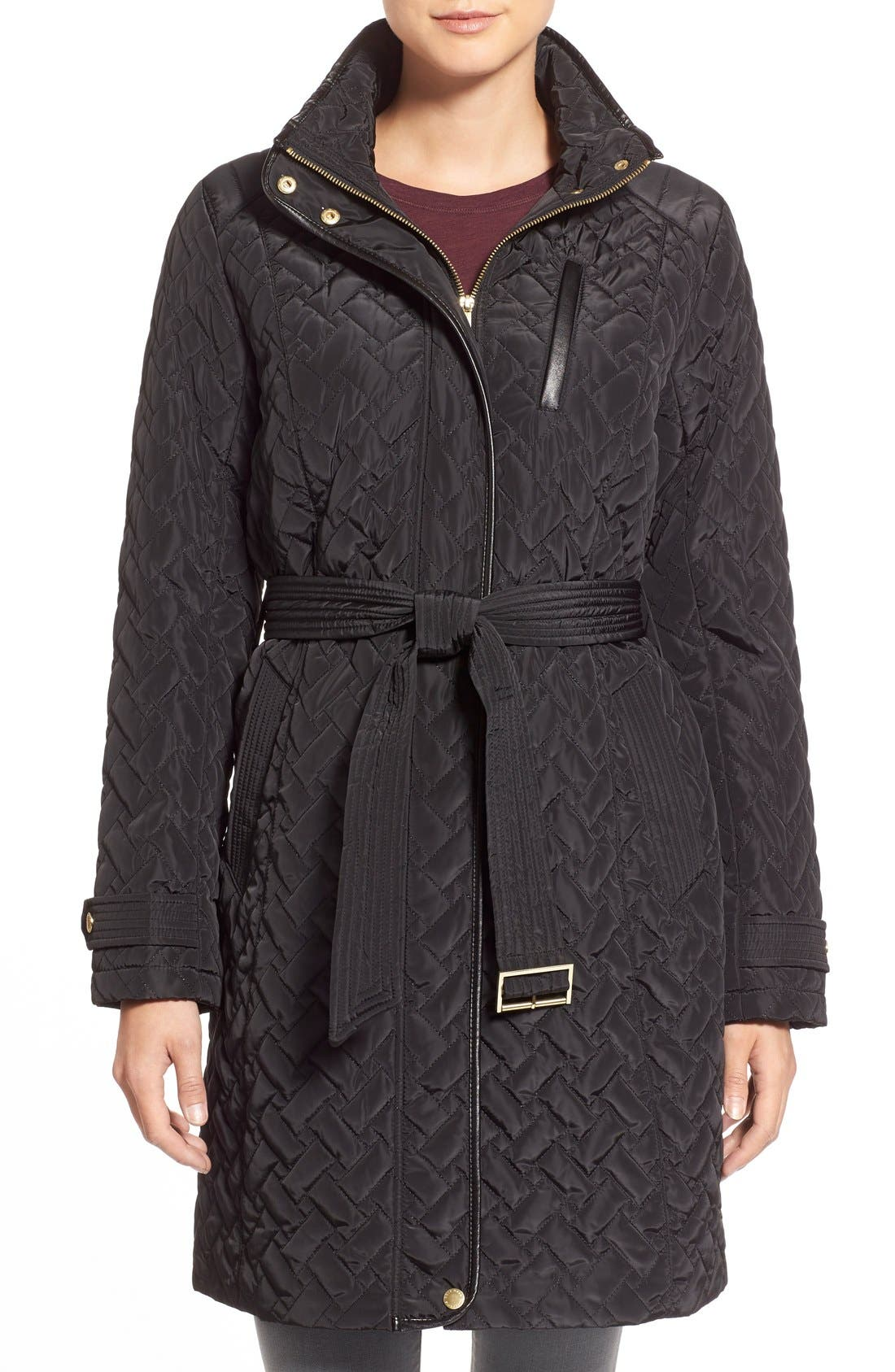 Belted Quilted Coat,                             Main thumbnail 3, color,