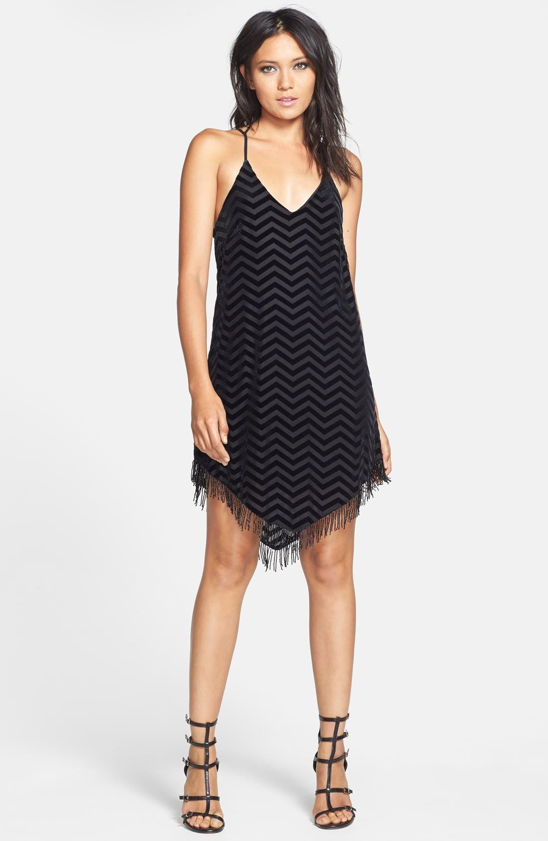 ASTR Beaded Hem Shift Dress,                         Main,                         color, 001